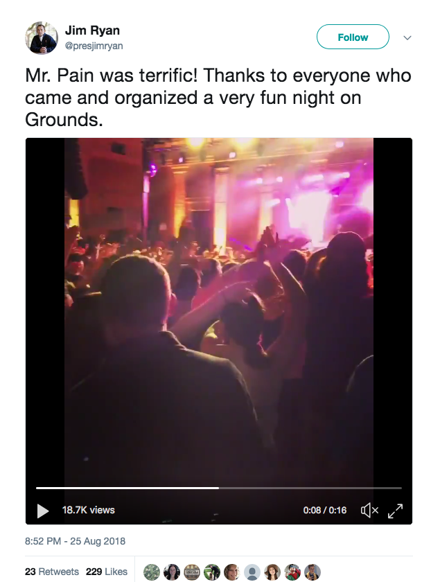 New UVa President Jim Ryan welcomes T-Pain to UVa in his inimitable style. Photo courtesy Twitter.