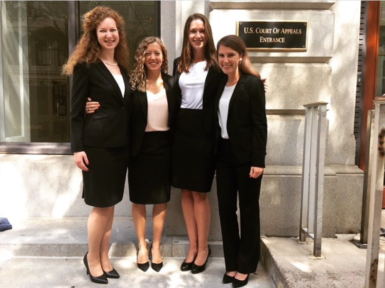 "Clinic participants Sarah Crandall '19, Amanda Lineberry '19, Kendall Burchard '19, and Elizabeth ""Lizard"" Joynes '19 on the steps of the Federal Courthouse in Richmond. Photo courtesy Amanda Lineberry / Instagram."