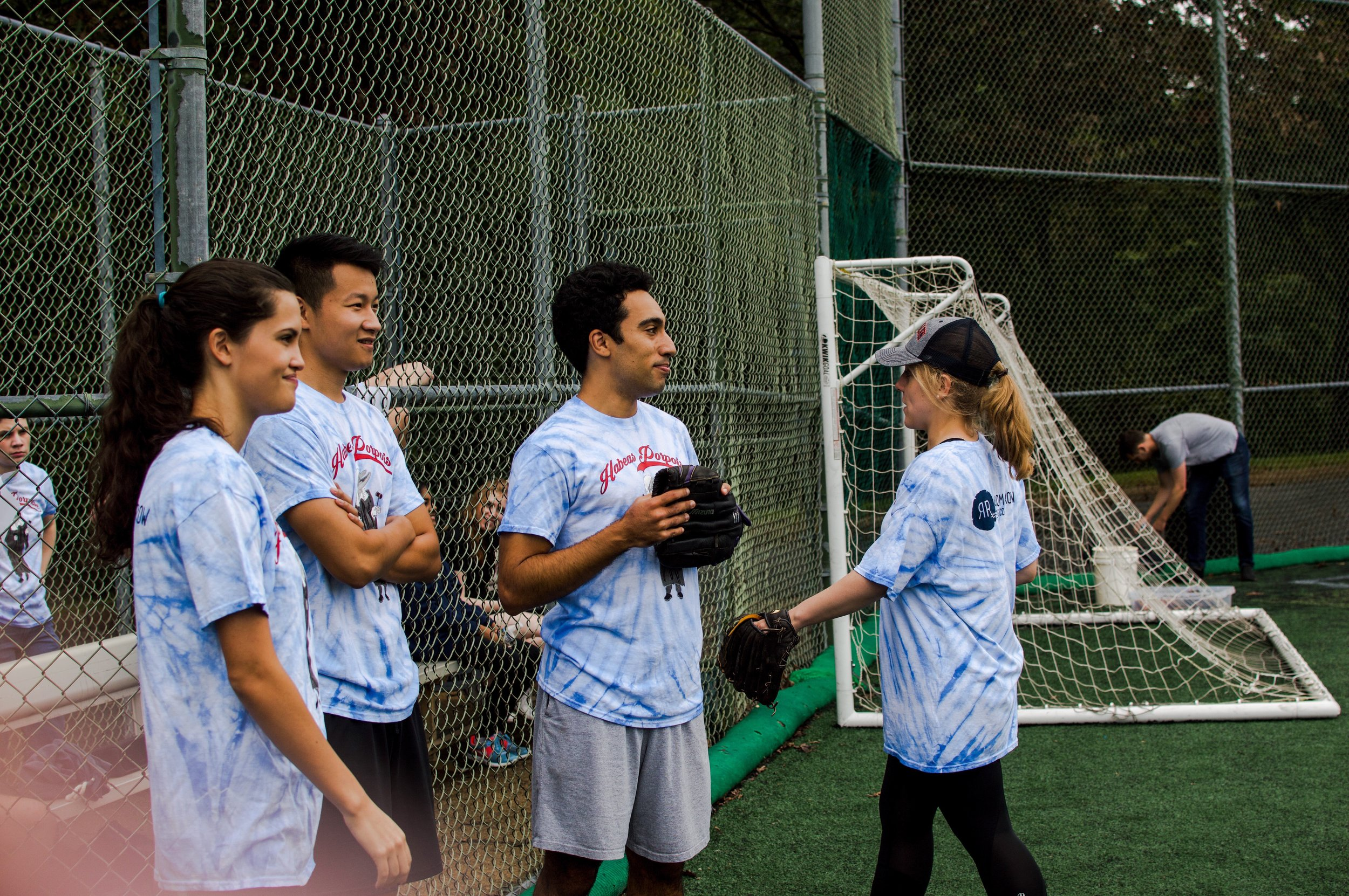 Members of the victorious Habeas Porpoise warm up. Photos Kolleen Gladden, '21 / Virginia Law Weekly