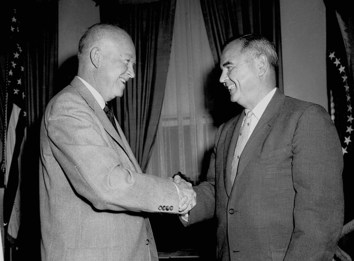 Judge Brennan is congratulated by President Eisenhower after his selection to the Supreme Court. Photo courtesy Associated Press.