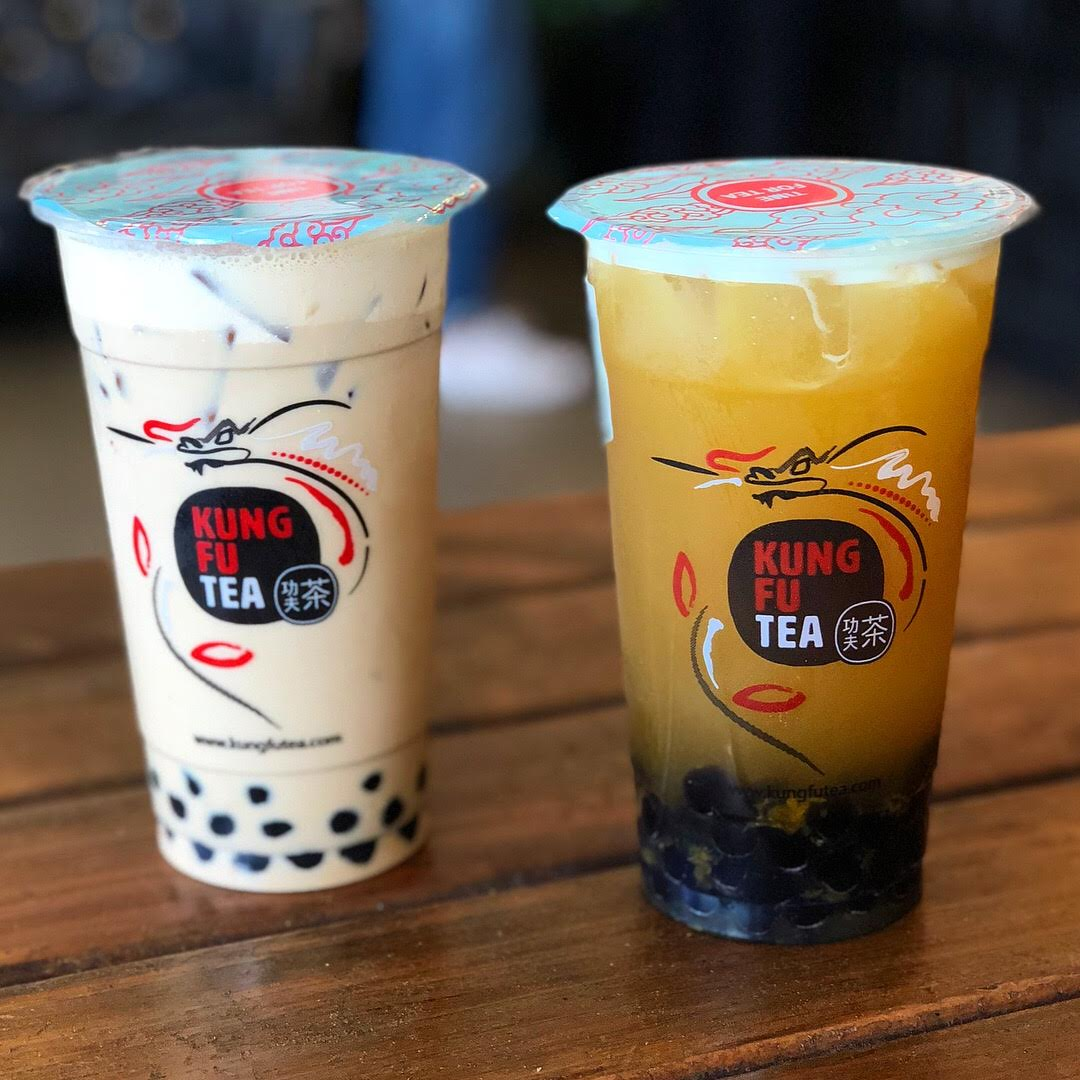 Two sweet, enticing glasses of Kung Fu Tea's bubble tea. Photo courtesy Kung Fu Tea.
