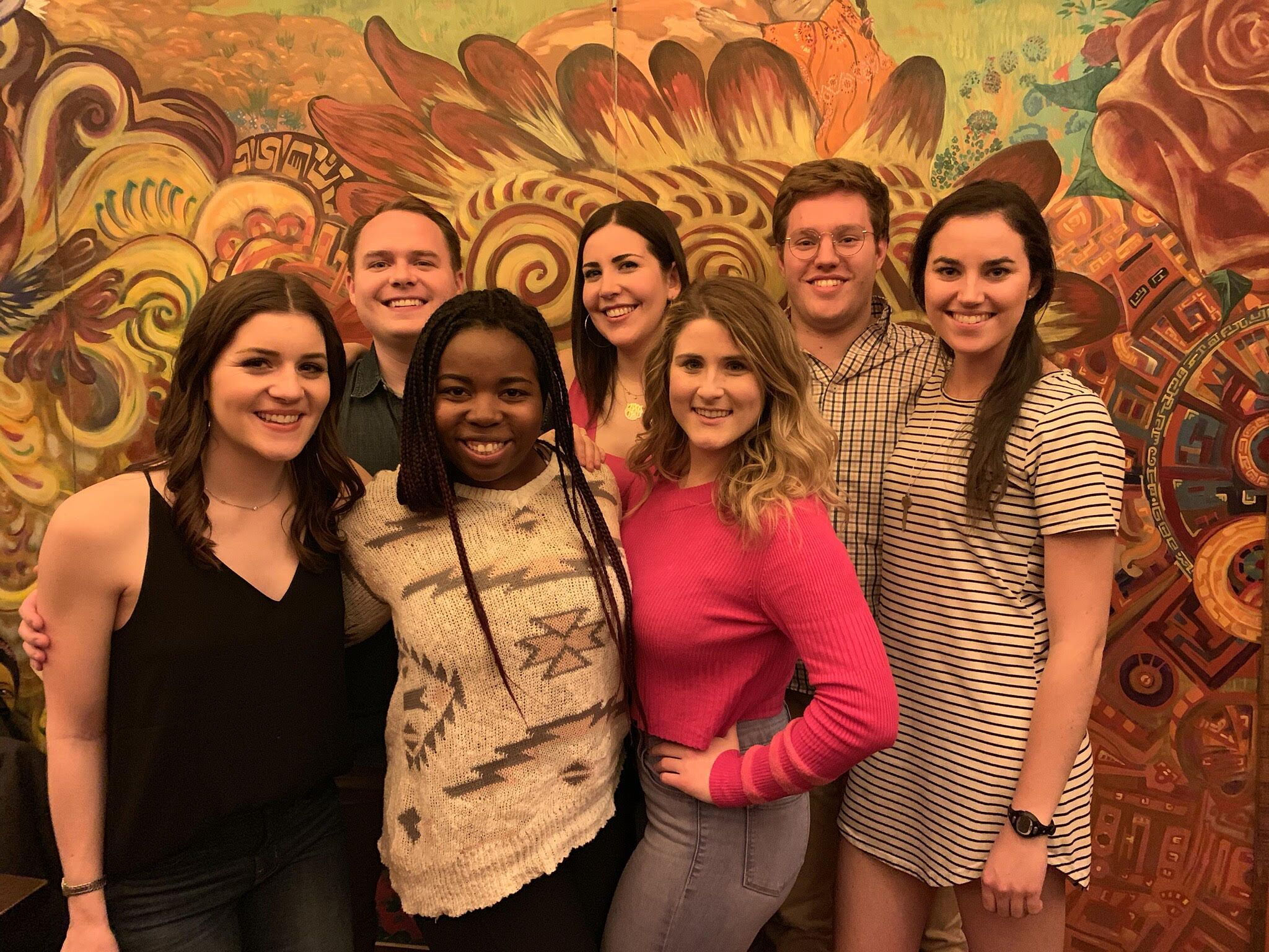 New and old SBA officers gathered at the Bebedero for a celebratory meal. L-R: Frances Fuqua '19, MacLane Taggart '19, Jasmine Lee '20, Julia Wahl '19, Rachel Staub '20, Trevor Quick '20, Katherine Janes '21. Photo courtesy F. Fuqua.