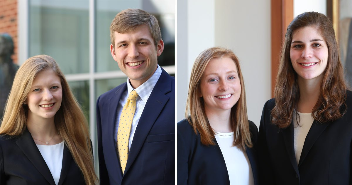 From left to right: Megan Mers '20, Henry Dickman '20, Abbey Thornhill '20, and Katherine Whisenhunt '20. Photo Courtesey of University of Virginia School of Law.