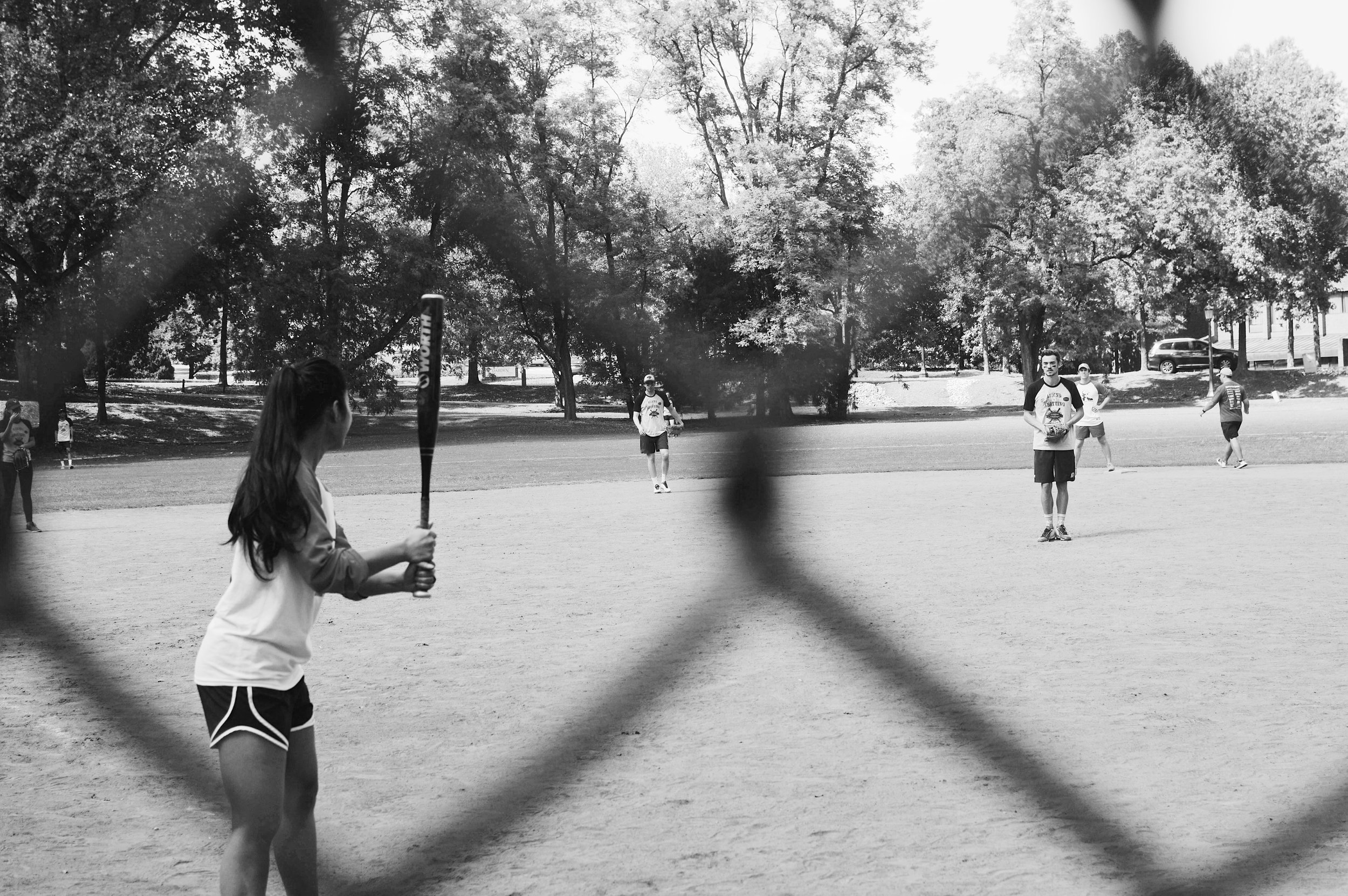 1Ls square off— in a very collegial manner— on the softball field. Photo credit Kolleen Gladden '21.