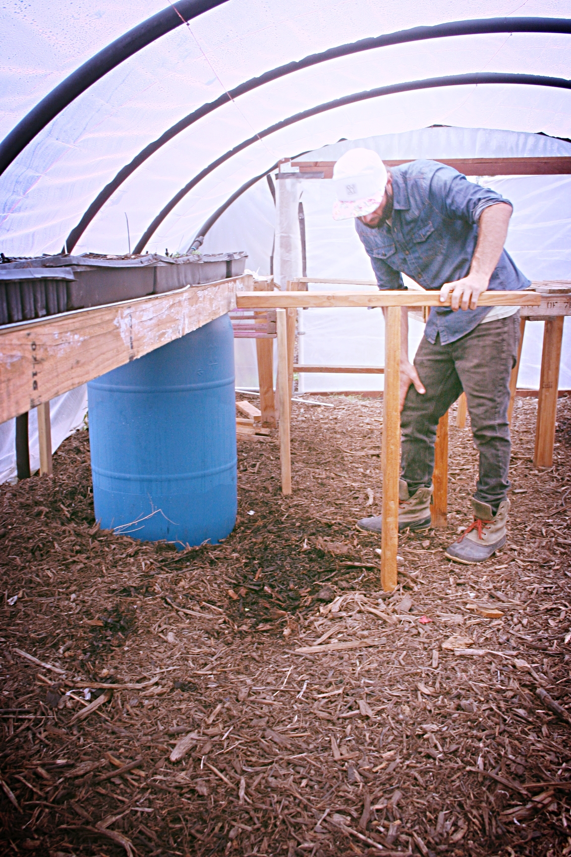 """Since I'm making tea I made these large 2x4"""" """"T""""s now I can lift the whole table off of the drum and rest the greenhouse table upon my large """"T"""" to then access the lid."""