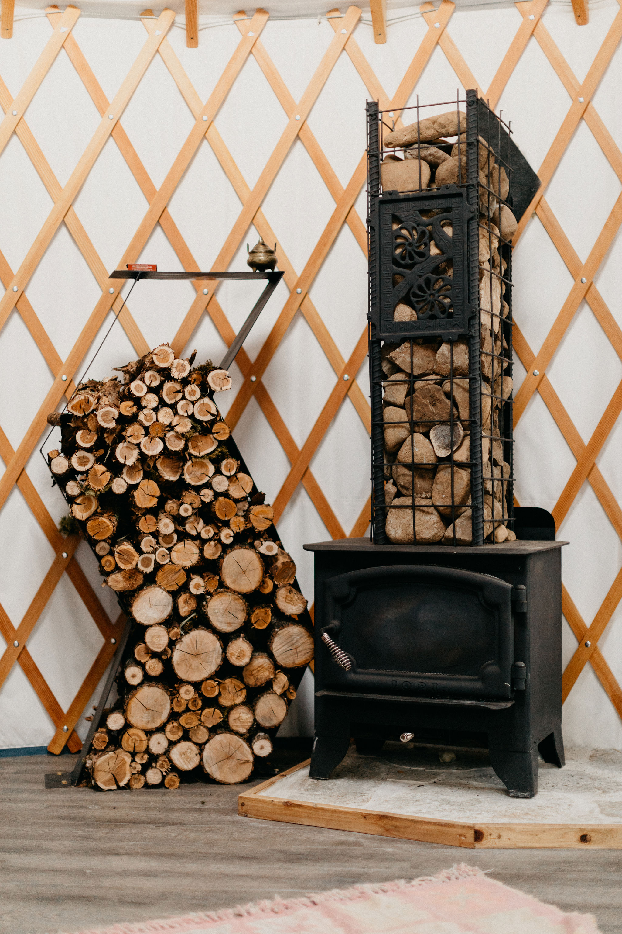 Wood burning stove to keep you cozy at night, especially during the winter months.
