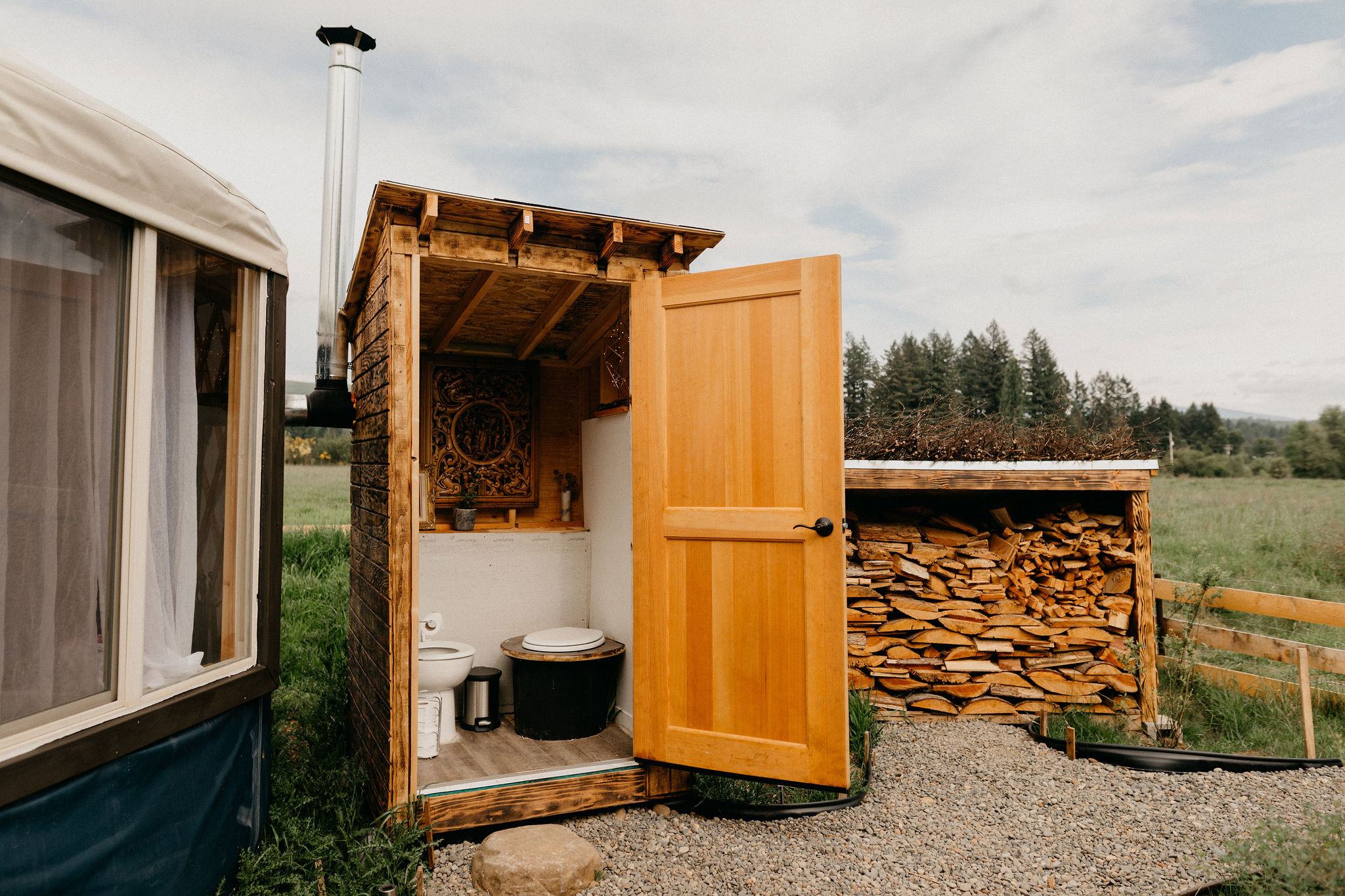 Composting toilet within easy distance.