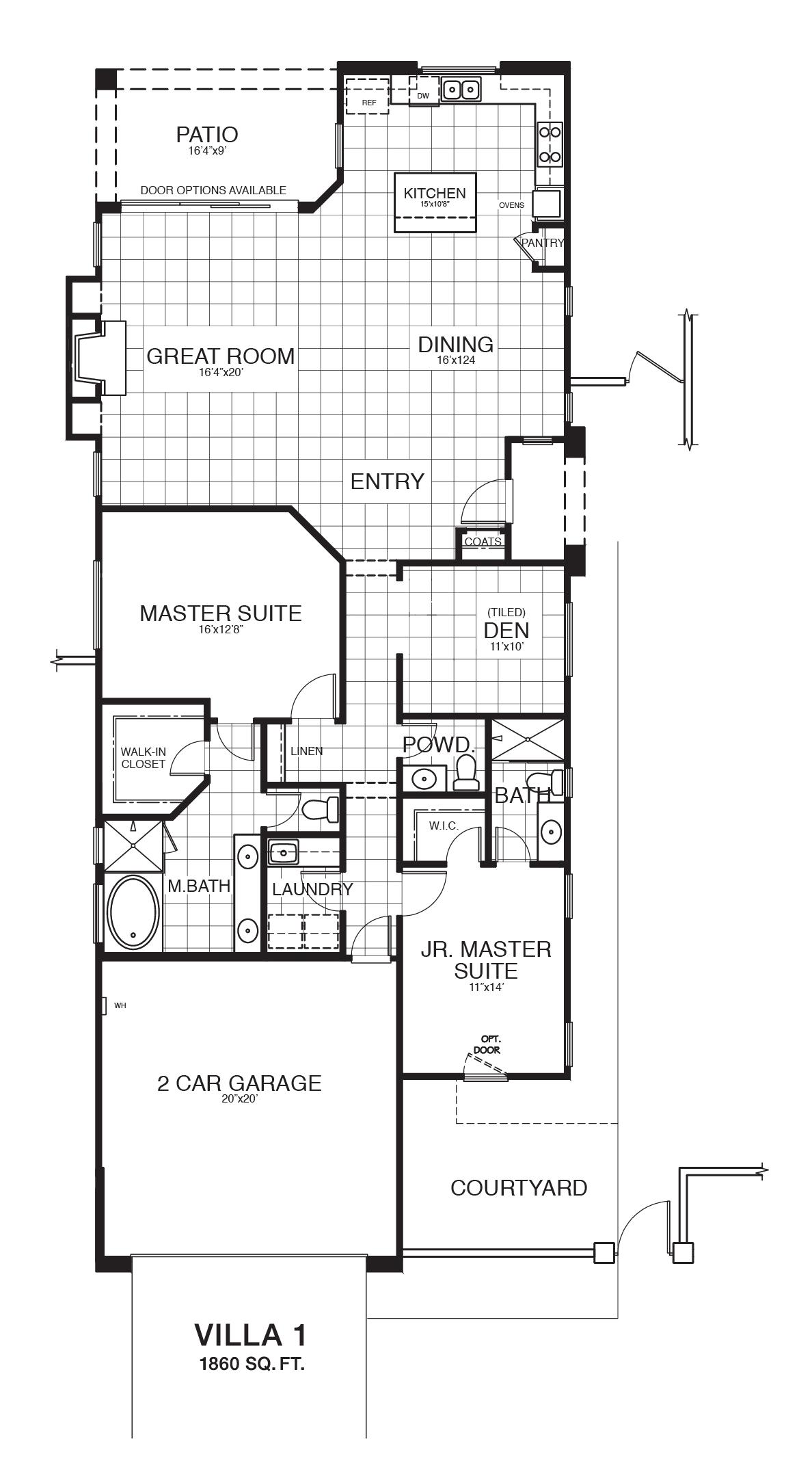 Villa 1 reverse floor plan.
