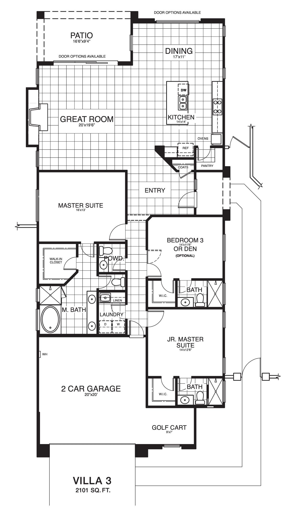 Villa 3 reverse floor plan.