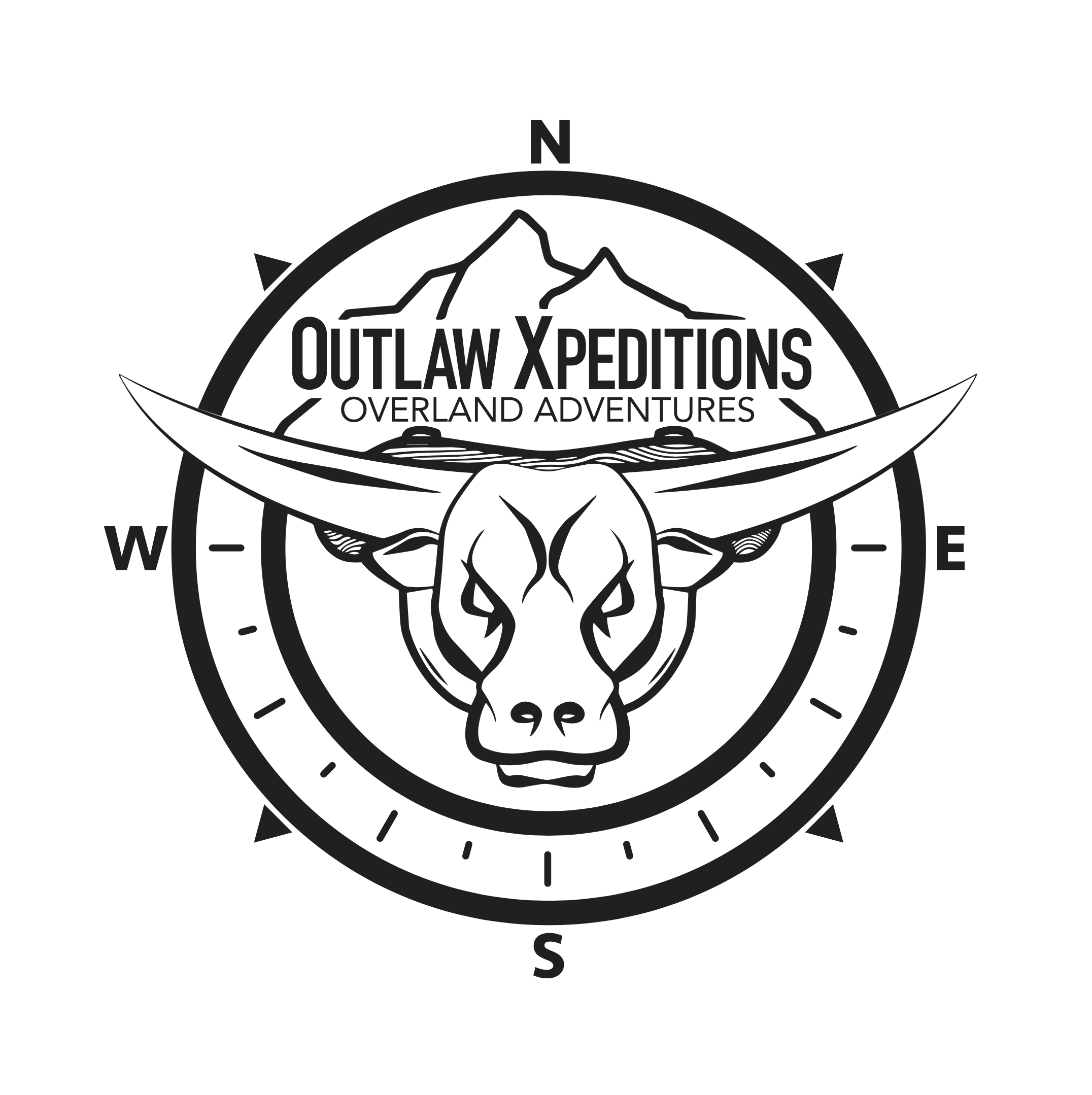 Outlaw Xpeditions - black on white logo