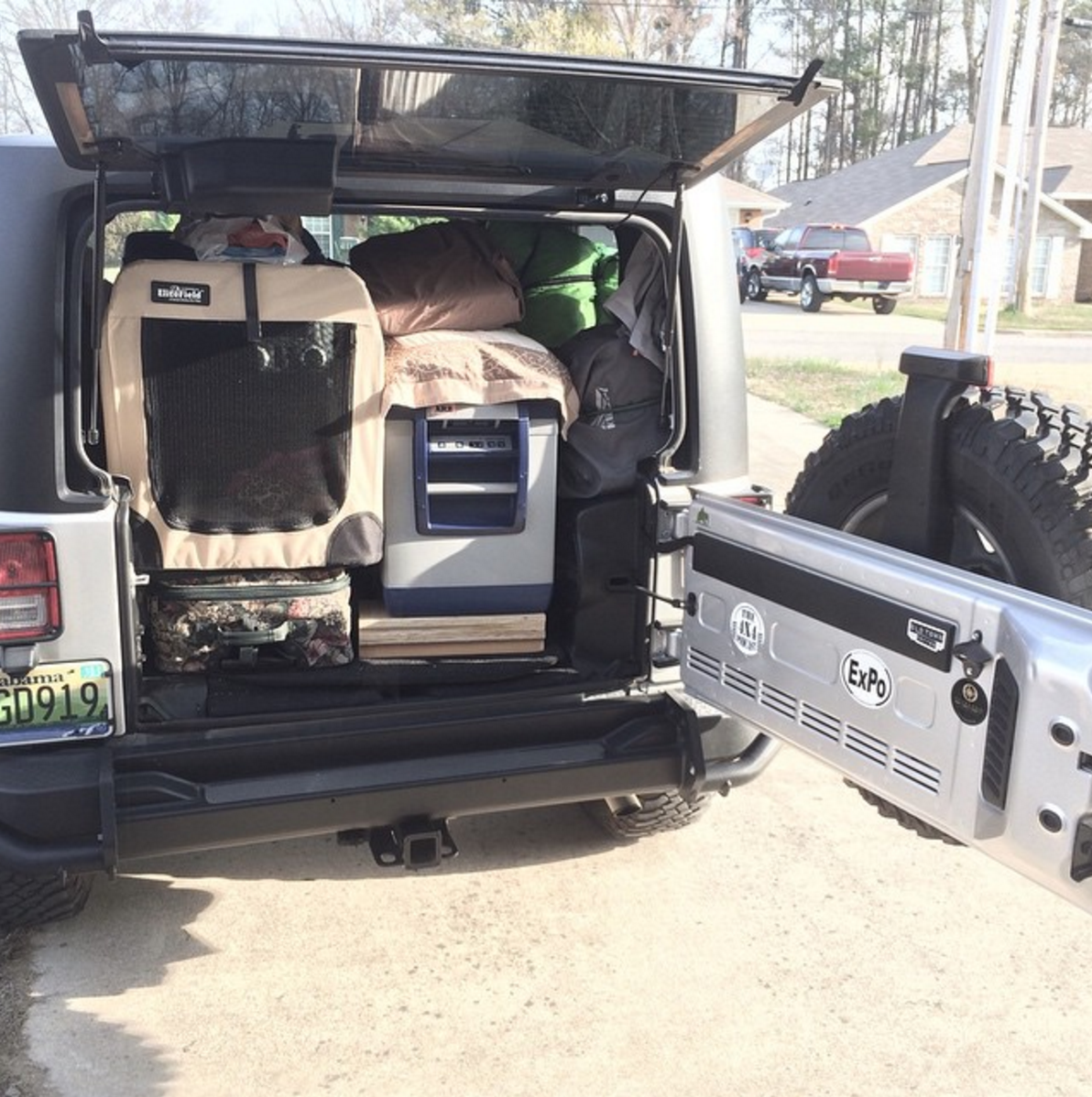 With the back seat out, it is possible squeeze in a fair amount of items. Fortunately, most of these items were transferred to our teardrop camper a few miles down the road.