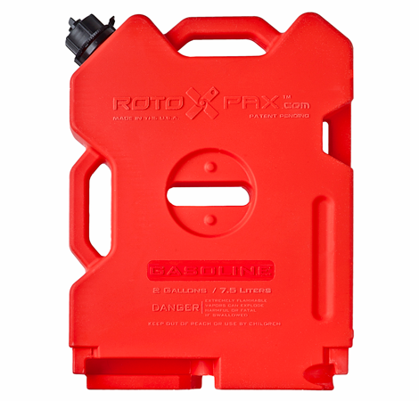 Rotopax offers a full line of storage solutions including this 2 gallon roto-molded container. These containers can be connected at the ends to create a solid mounting solution.  Image: Rotopax
