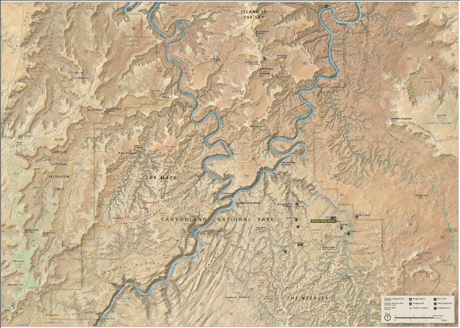 Canyonlands National Park, terrain             Image: www.npmaps.com