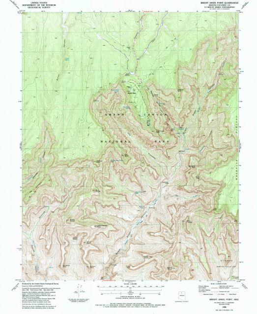 Grand Canyon, North Rim,topo  Image: www.npmaps.com