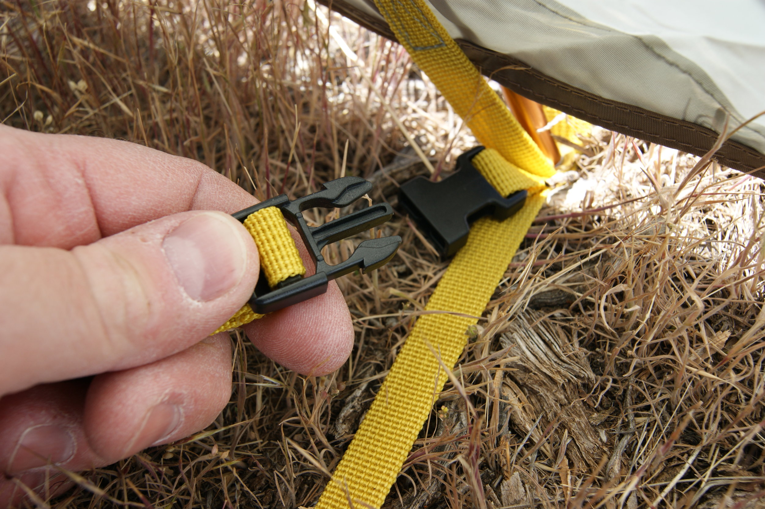 Tent floor quick connects.