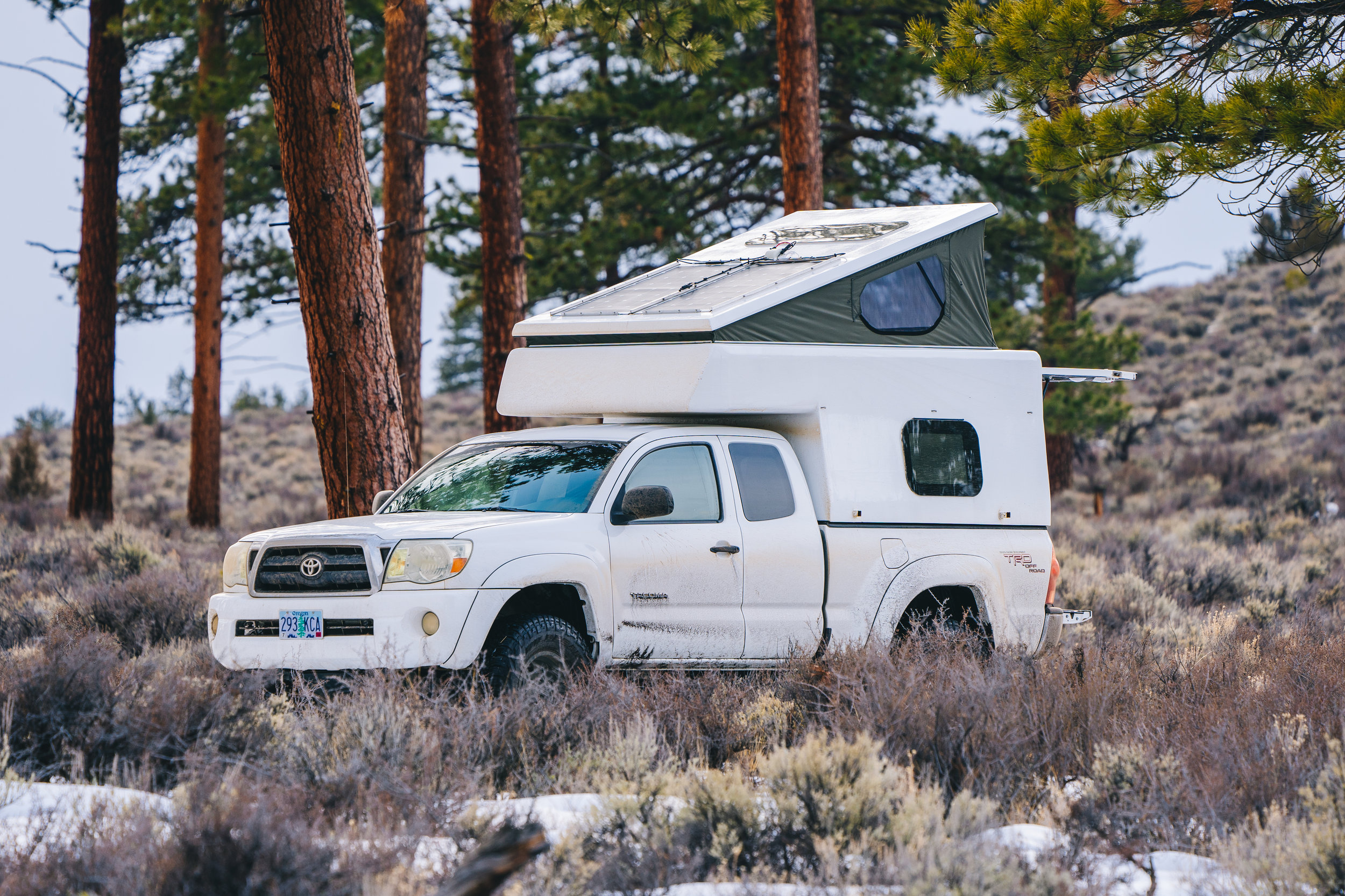 Michael Gorski's DIY Toyota Tacoma camper three quarter shot