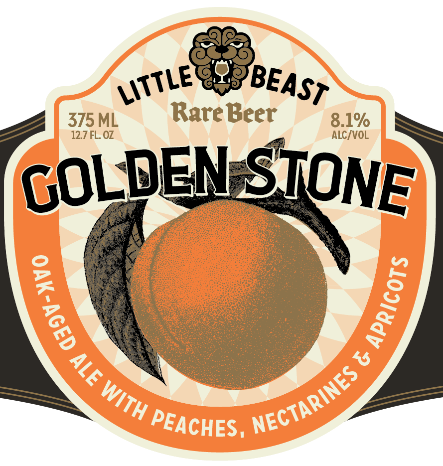 GOLDEN STONE /  Oak-Aged Ale w/ Peaches, Nectarines & Apricots    A blend of peaches, nectarines and apricots gives a luscious elegance to this farmhouse ale. Prevailing notes of vanilla, toasted French oak & juicy stone fruit.  8.1% ABV / 12 IBU / 375 ML
