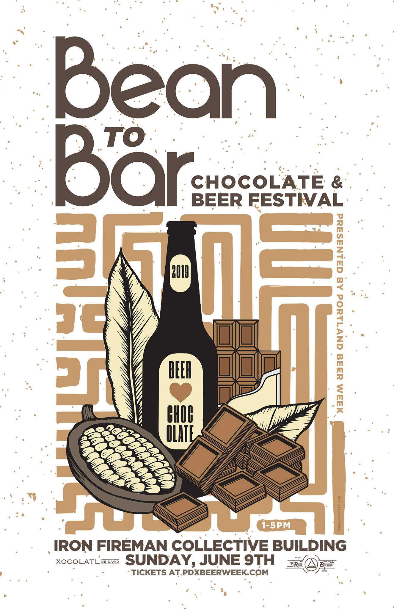 Bean To Bar: Chocolate and Beer Festival - Sun. June 9th, 1-5pmIron Fireman Collective Building, 4784 SE 17th AveBuy tickets hereWe're pouring:• Dutchy (Pinot Noir Barrel-Aged Oud Bruin with Montmorency Cherries and Cacao Nibs)Beer and chocolate were born to be together. With compatible flavor profiles and a similar production process, artisan chocolatiers and brewers come together in a harmonious showcase on Sunday, June 9th from 1-5pm at the Bean to Bar: Chocolate and Beer Festival. The inaugural Bean to Bar festival showcases ten Oregon chocolatiers and what makes their product so unique, each will be paired with a northwest brewery pouring beers complimentary to the chocolates. All festival attendees will be able to sample the chocolates, use tickets for beers and purchase bars to-go directly from the chocolatiers!