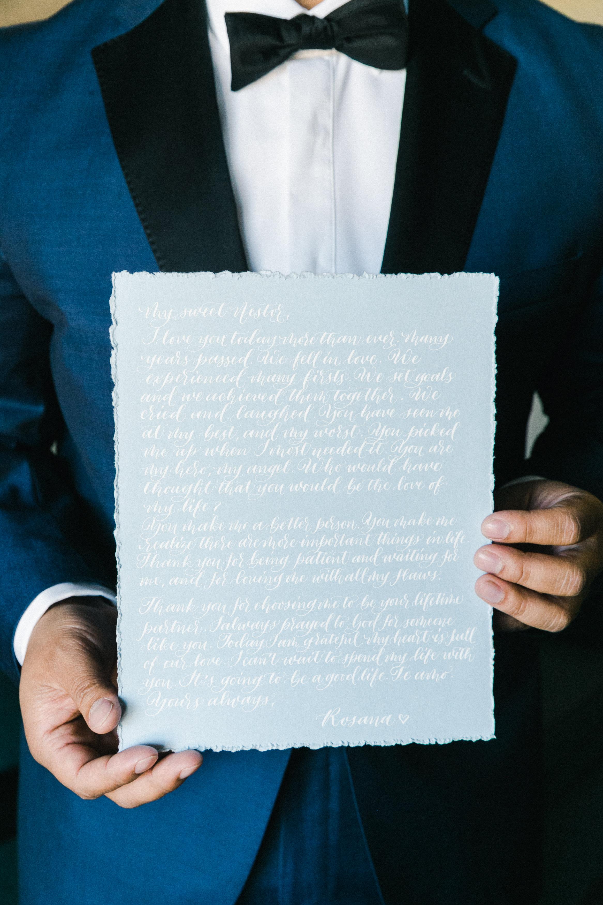 Handwritten calligraphy vows