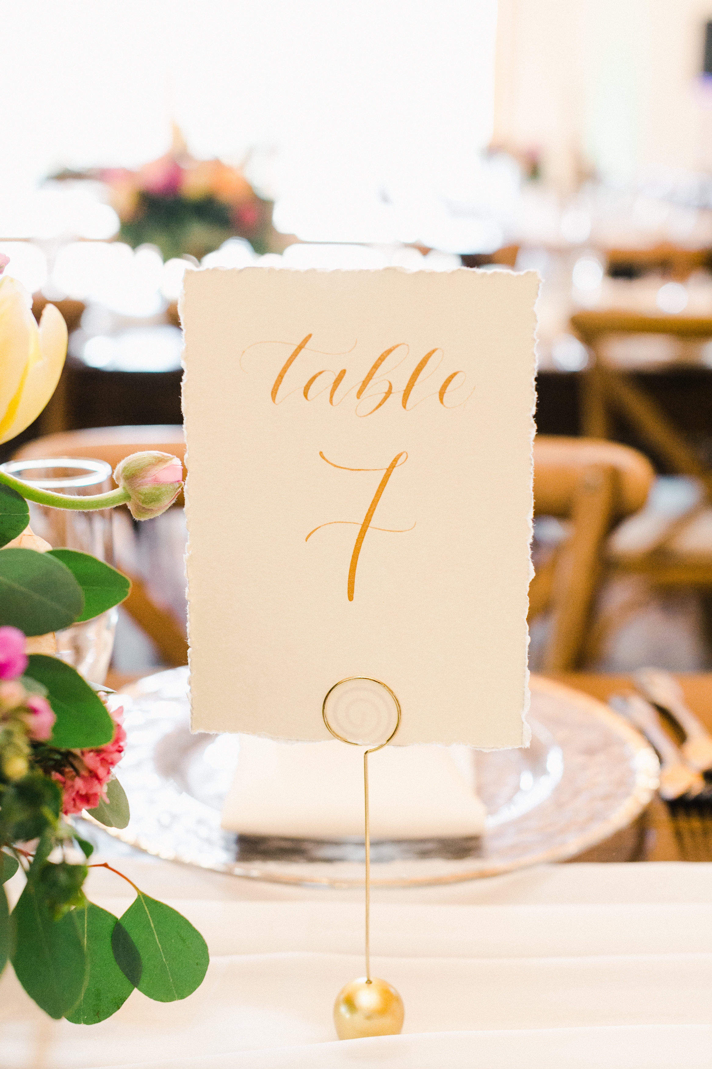 wedding calligraphy table number