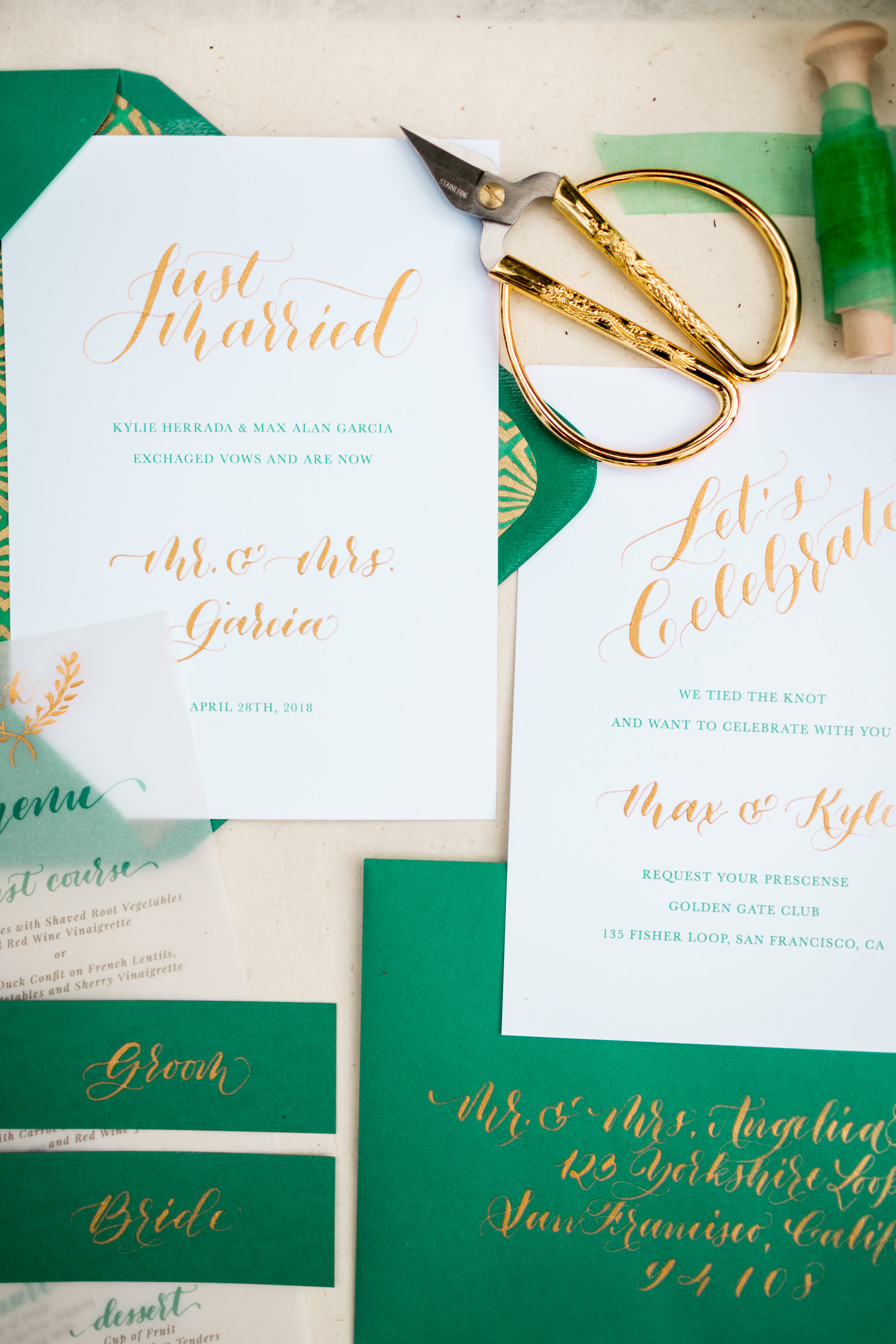 Elopement Announcement Esmerald and Gold Inspired by Paperloveme Calligraphy17.jpg