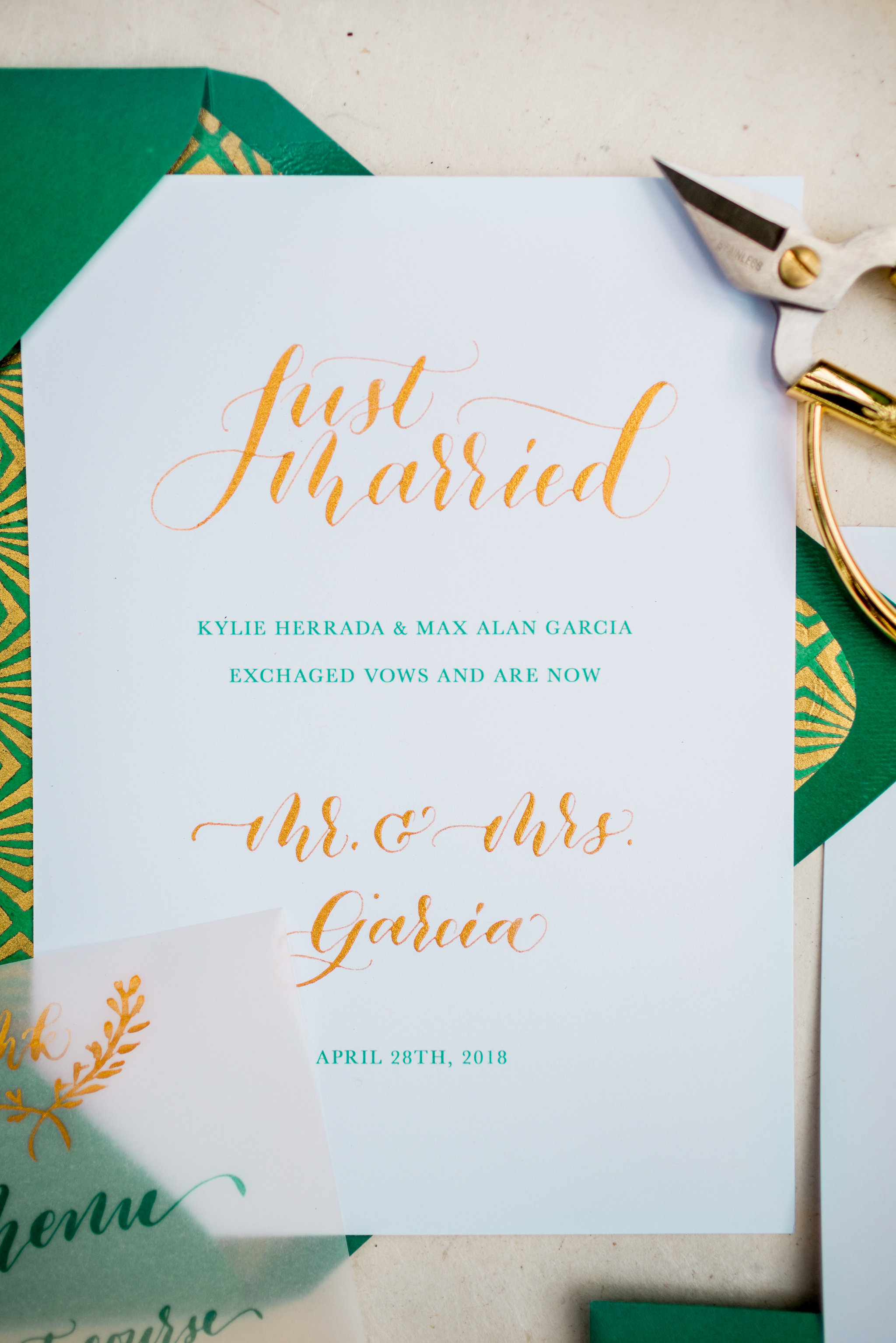 Elopement Announcement Esmerald and Gold Inspired by Paperloveme Calligraphy18.jpg