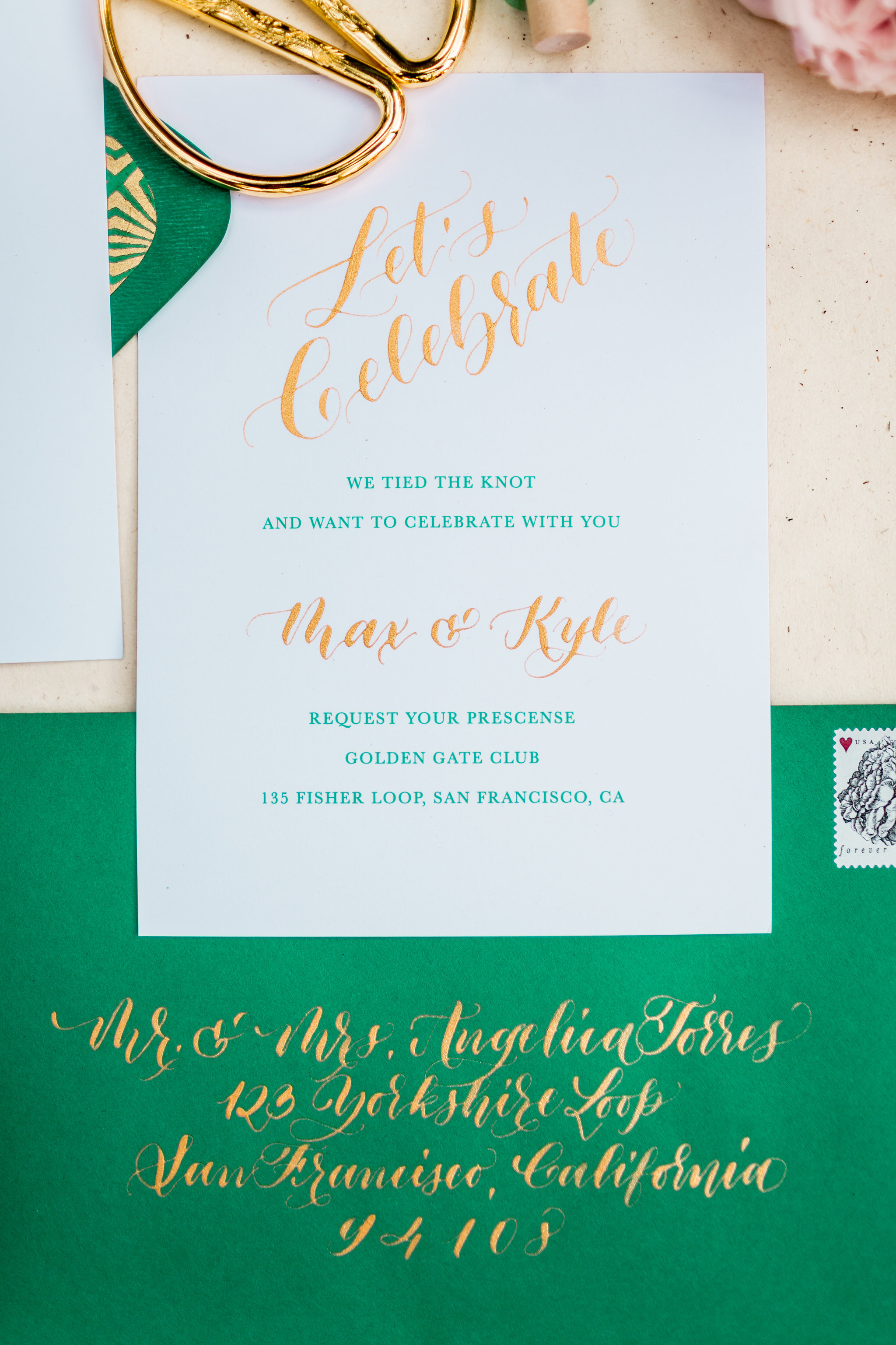 Elopement Announcement Esmerald and Gold Inspired by Paperloveme Calligraphy20.jpg