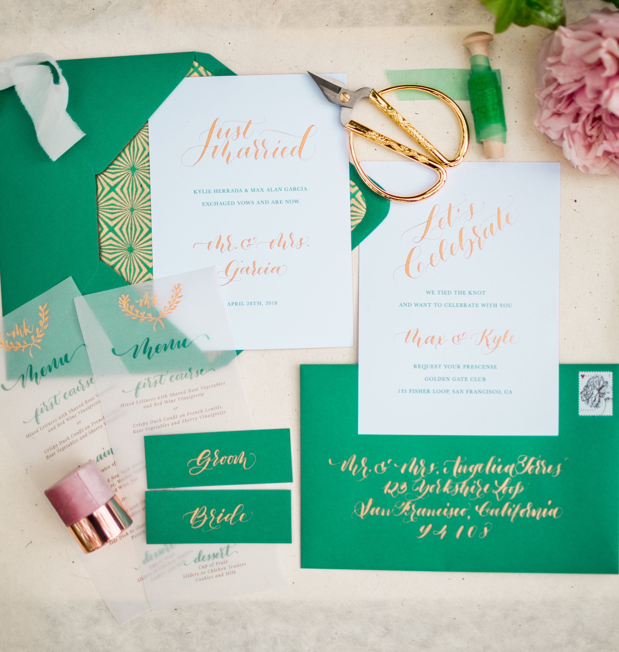 Elopement Announcement Esmerald and Gold Inspired by Paperloveme Calligraphy22.jpg