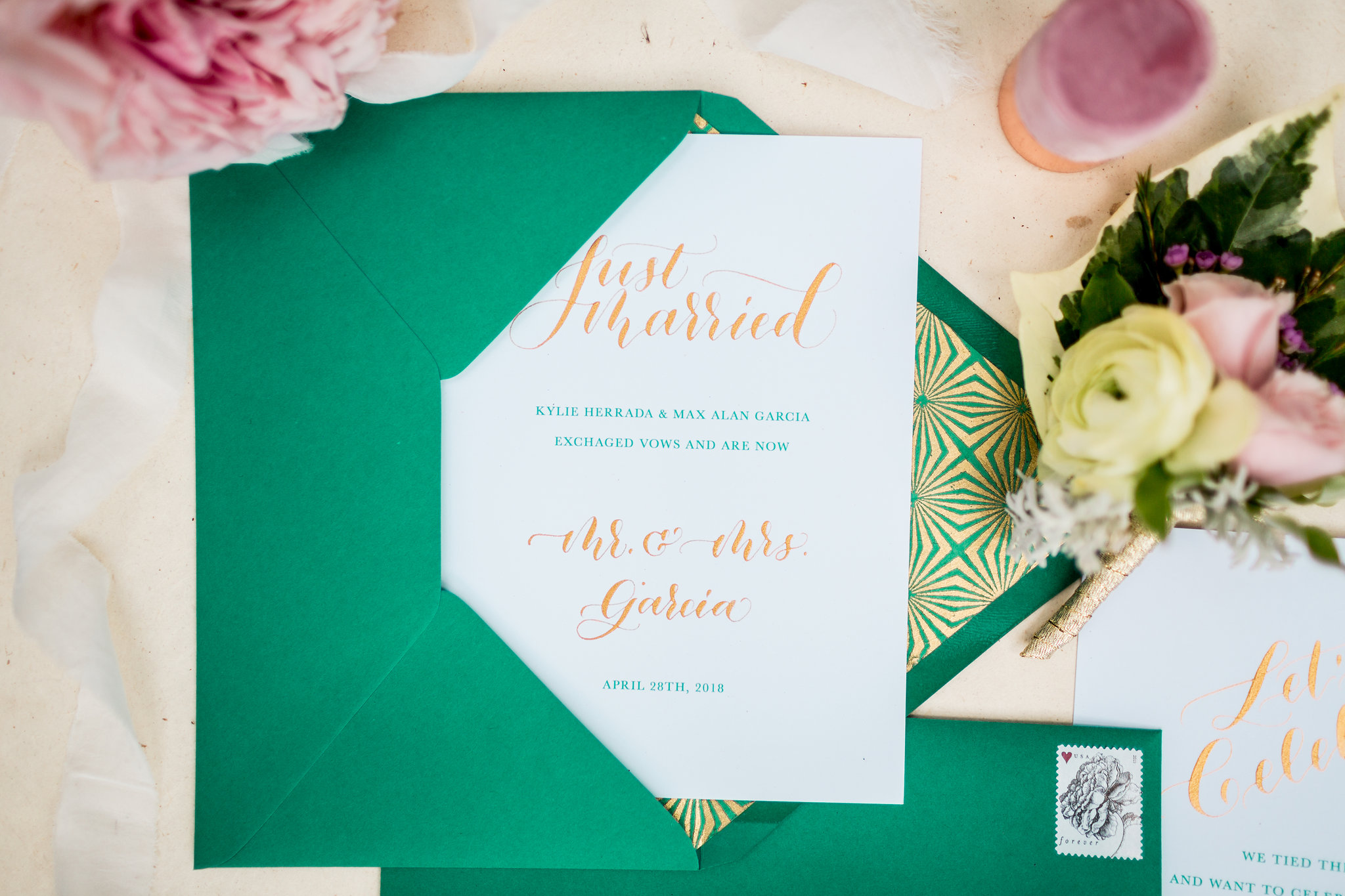 Elopement Announcement Esmerald and Gold Inspired by Paperloveme Calligraphy25.jpg
