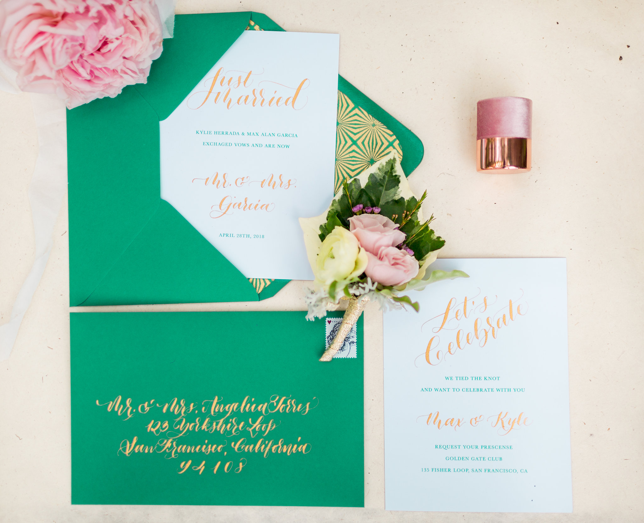 Elopement Announcement Esmerald and Gold Inspired by Paperloveme Calligraphy28.jpg