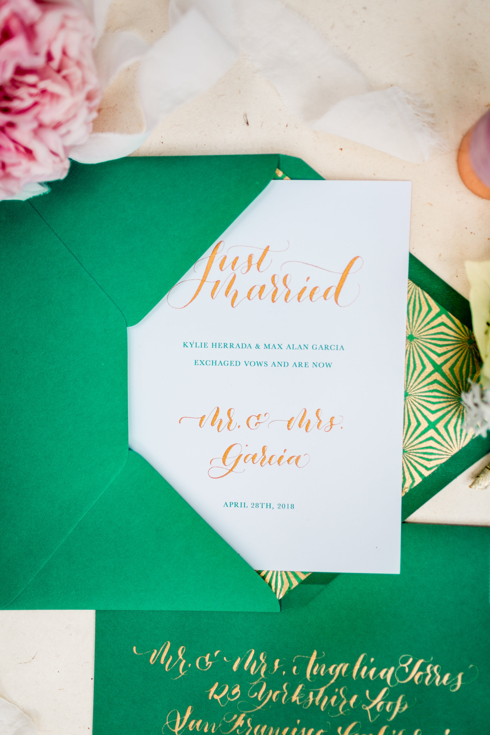 Elopement Announcement Esmerald and Gold Inspired by Paperloveme Calligraphy26.jpg