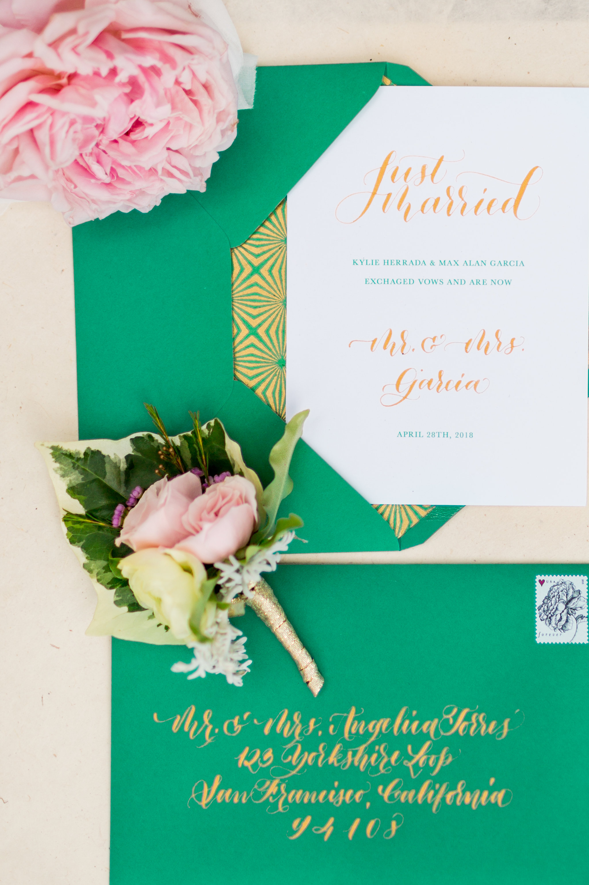 Elopement Announcement Esmerald and Gold Inspired by Paperloveme Calligraphy29.jpg