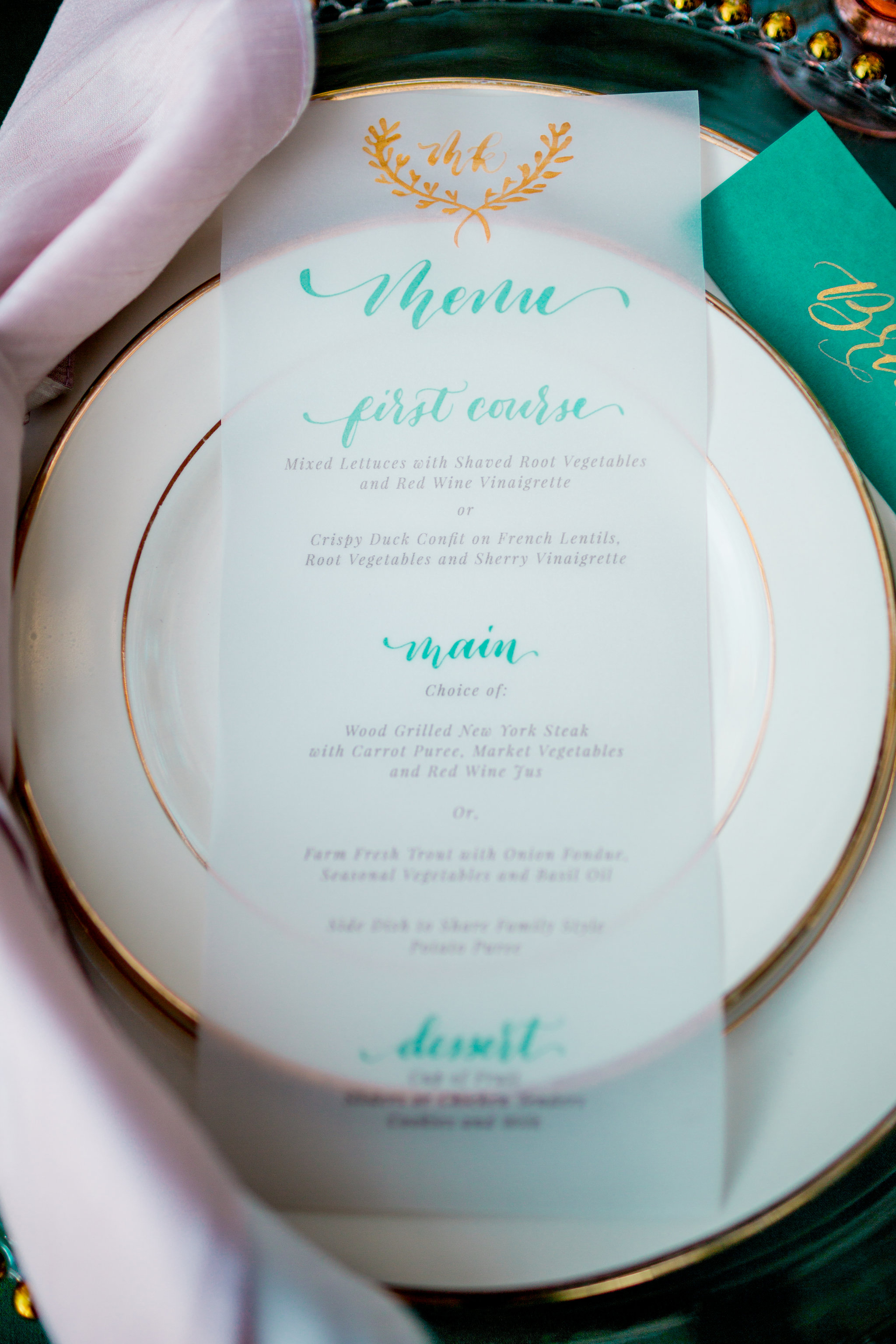 Elopement Announcement Esmerald and Gold Inspired by Paperloveme Calligraphy59.jpg