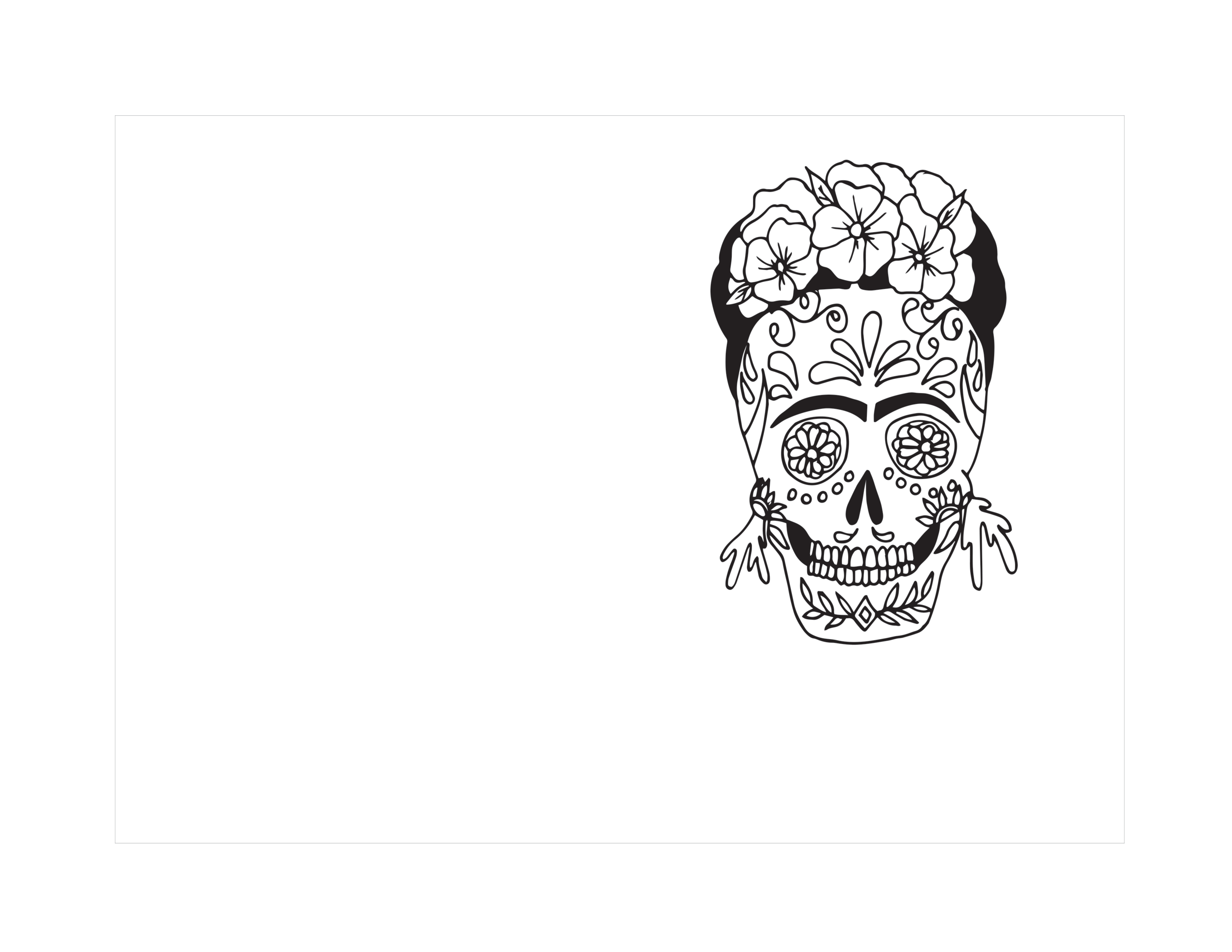 Skull print for coloring template