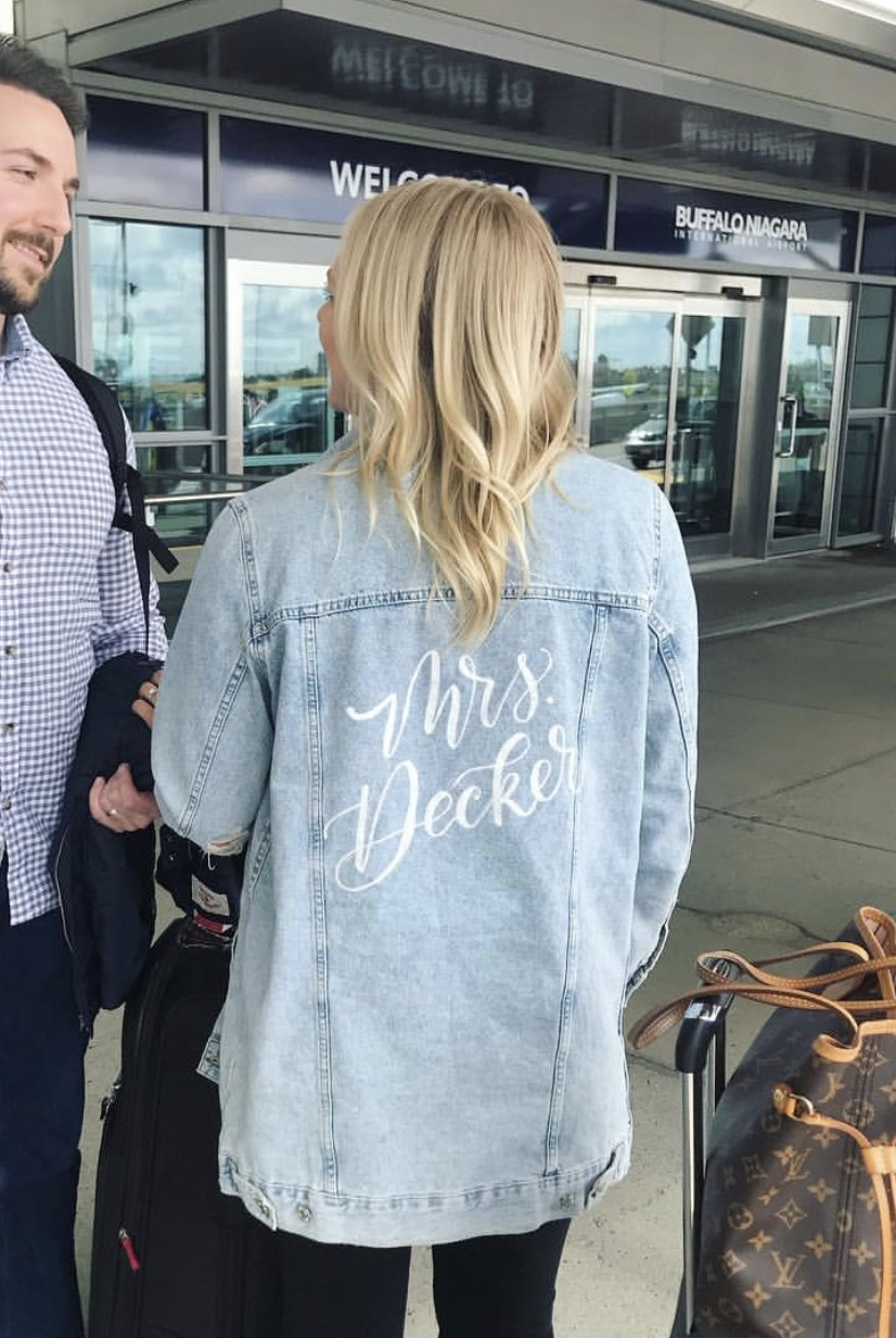 Personalized jean jacket for her in modern calligraphy.jpeg