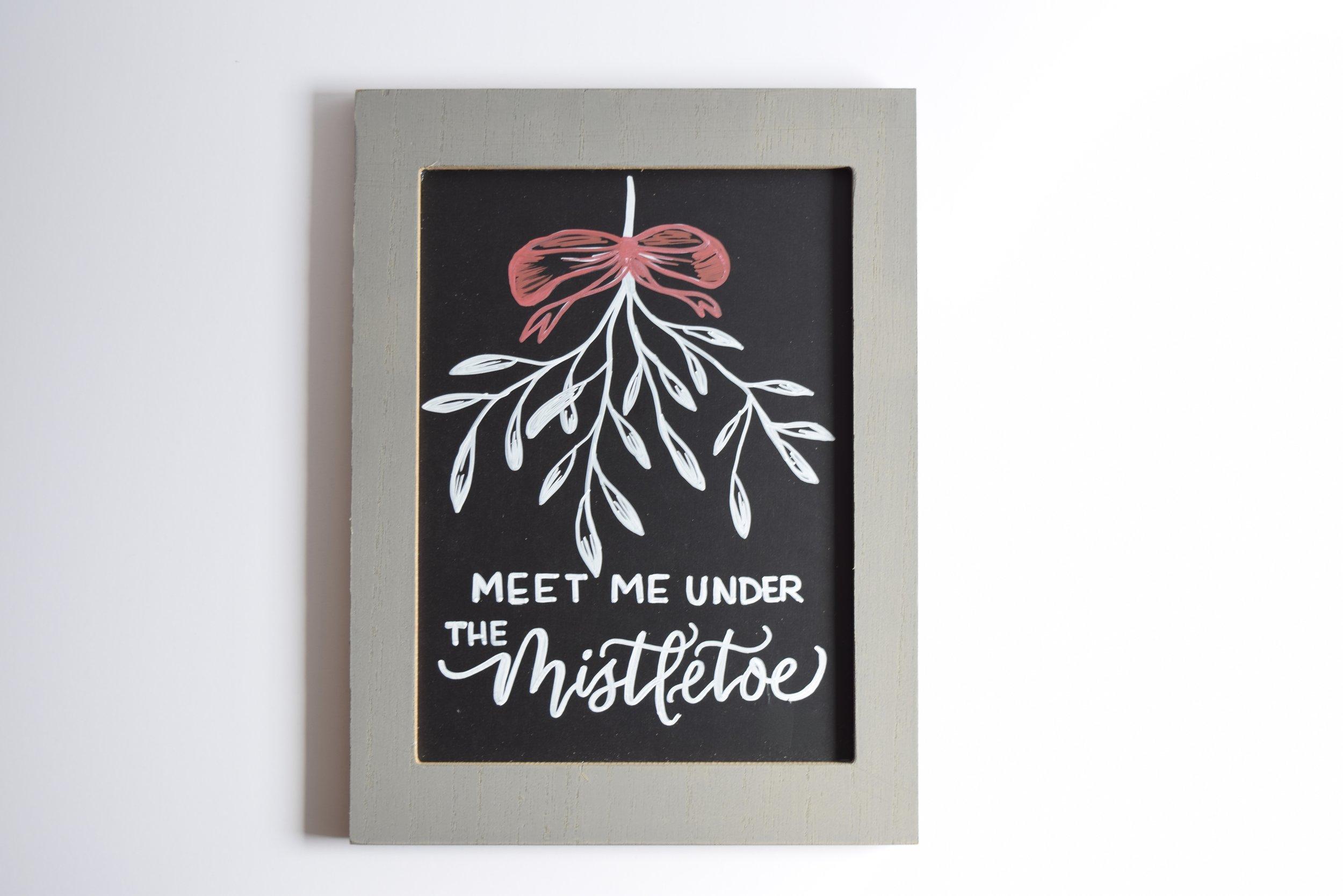 Meet Me Under The Mistletoe Christmas Custom Chalkboard   Personalized Sign   Christmas Decor   Christmas Chalk Art   Farmhouse Sign