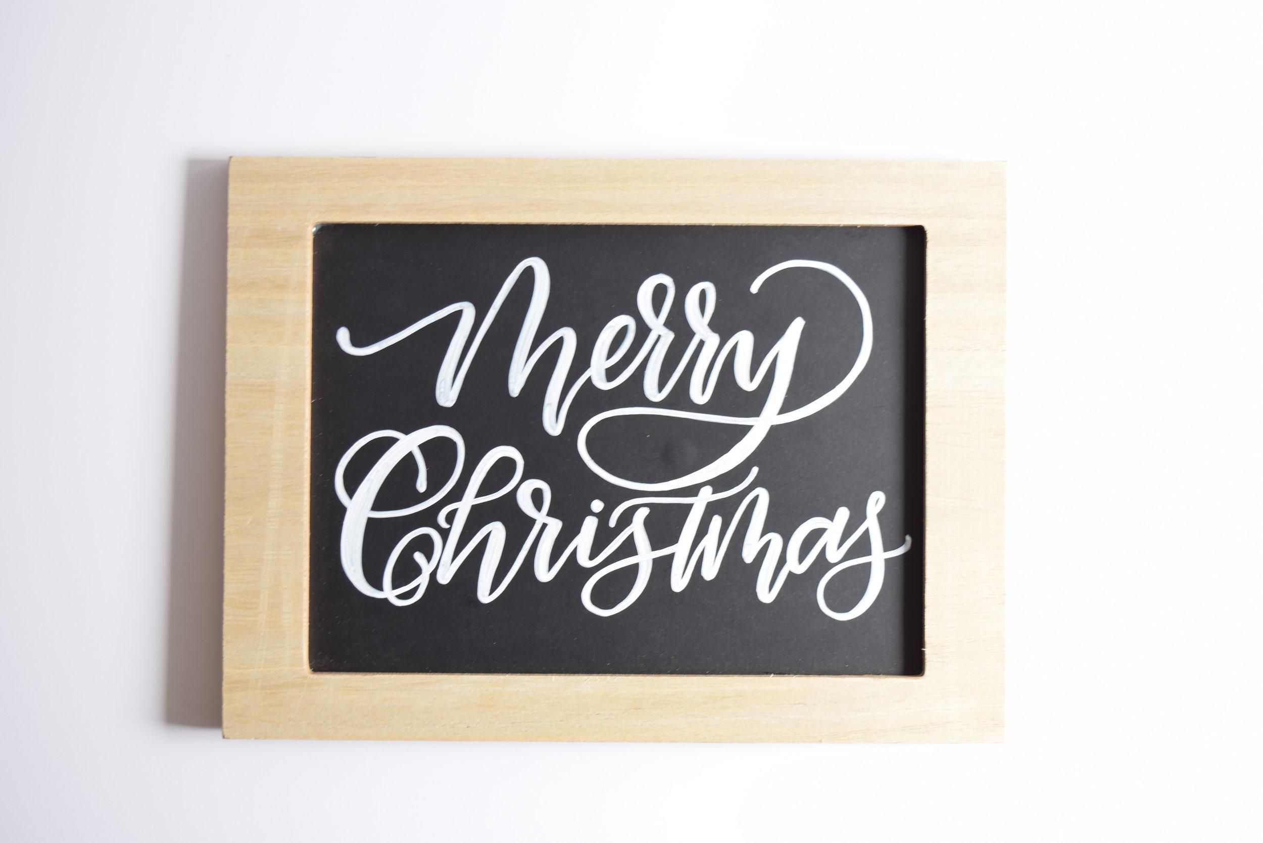 Merry Christmas Custom Chalkboard   Personalized Sign   Christmas Decor   Christmas Chalk Art   Farmhouse Sign   Chalk Art and Calligraphy