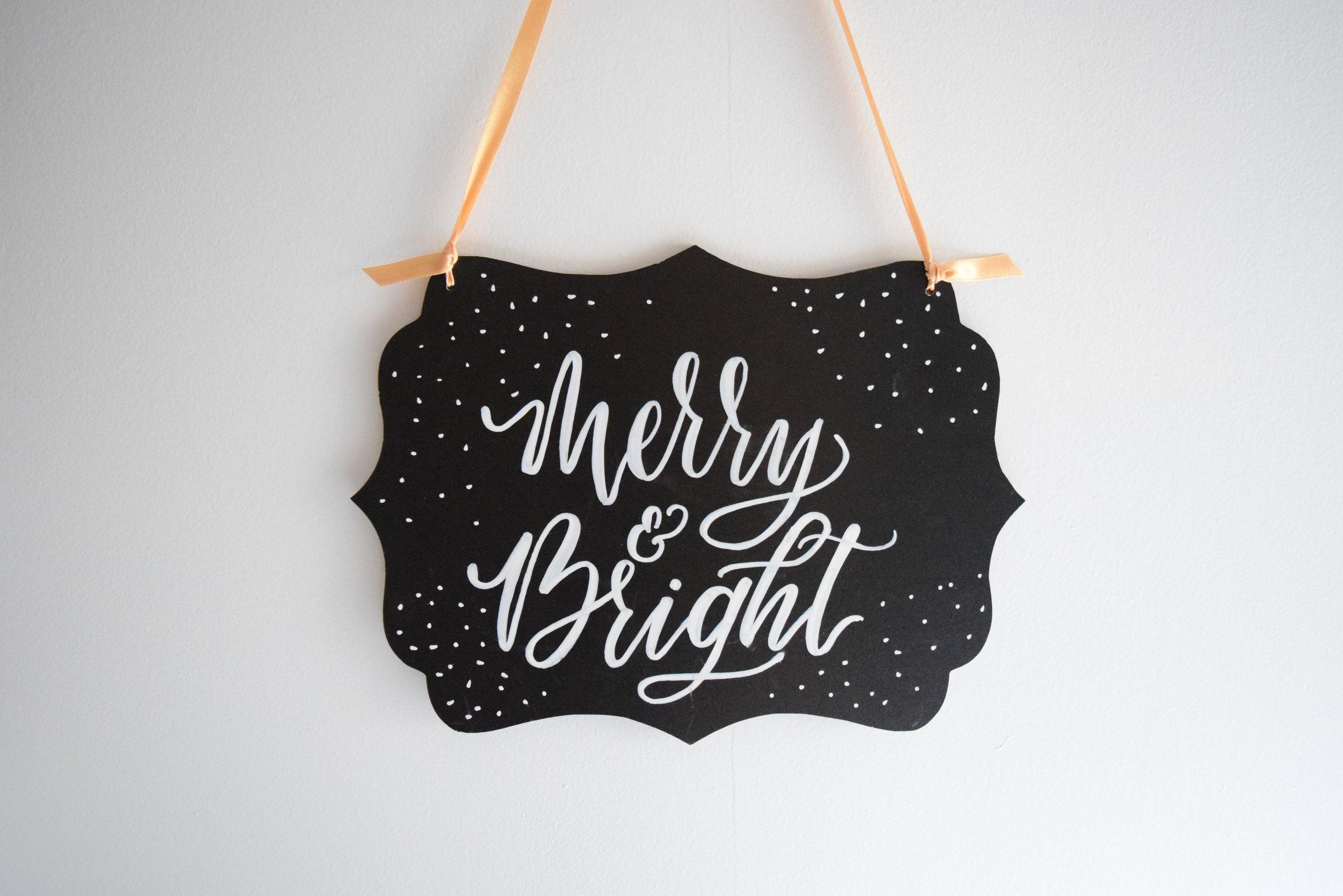 Merry & Bright Christmas Custom Chalkboard   Personalized Sign   Christmas Decoration   Christmas Wall Art   Farmhouse Sign   Door Decor