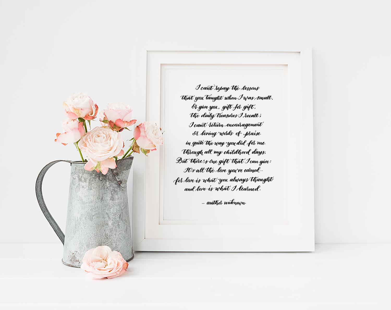 Handwritten Wedding Vows   Poem Handwritten in Calligraphy   Custom Calligraphy Poem   Vows Handwritten in Calligraphy   Size 8x10