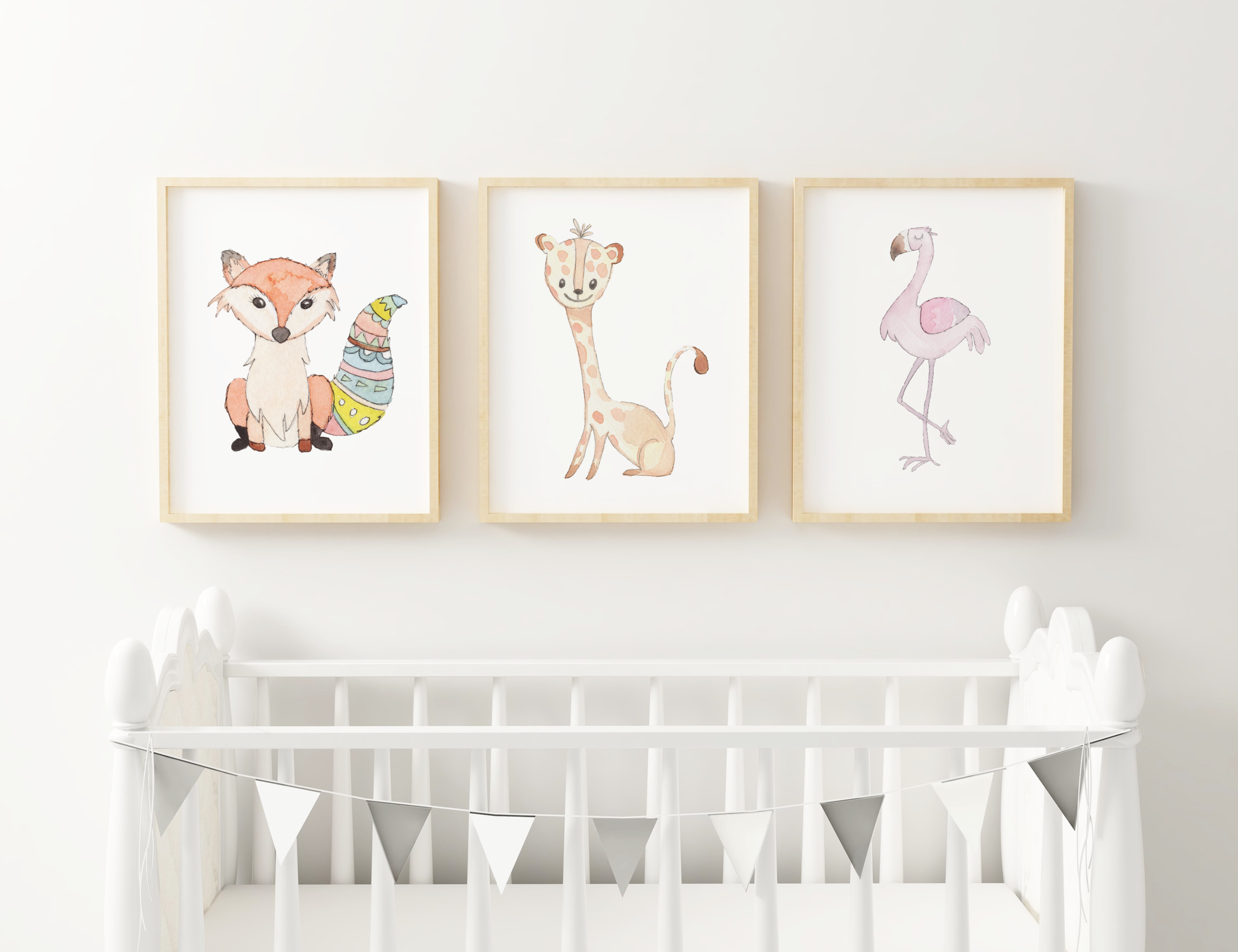 Personalized Cute Baby Animals for Baby Room   Christmas Gift for Baby Room
