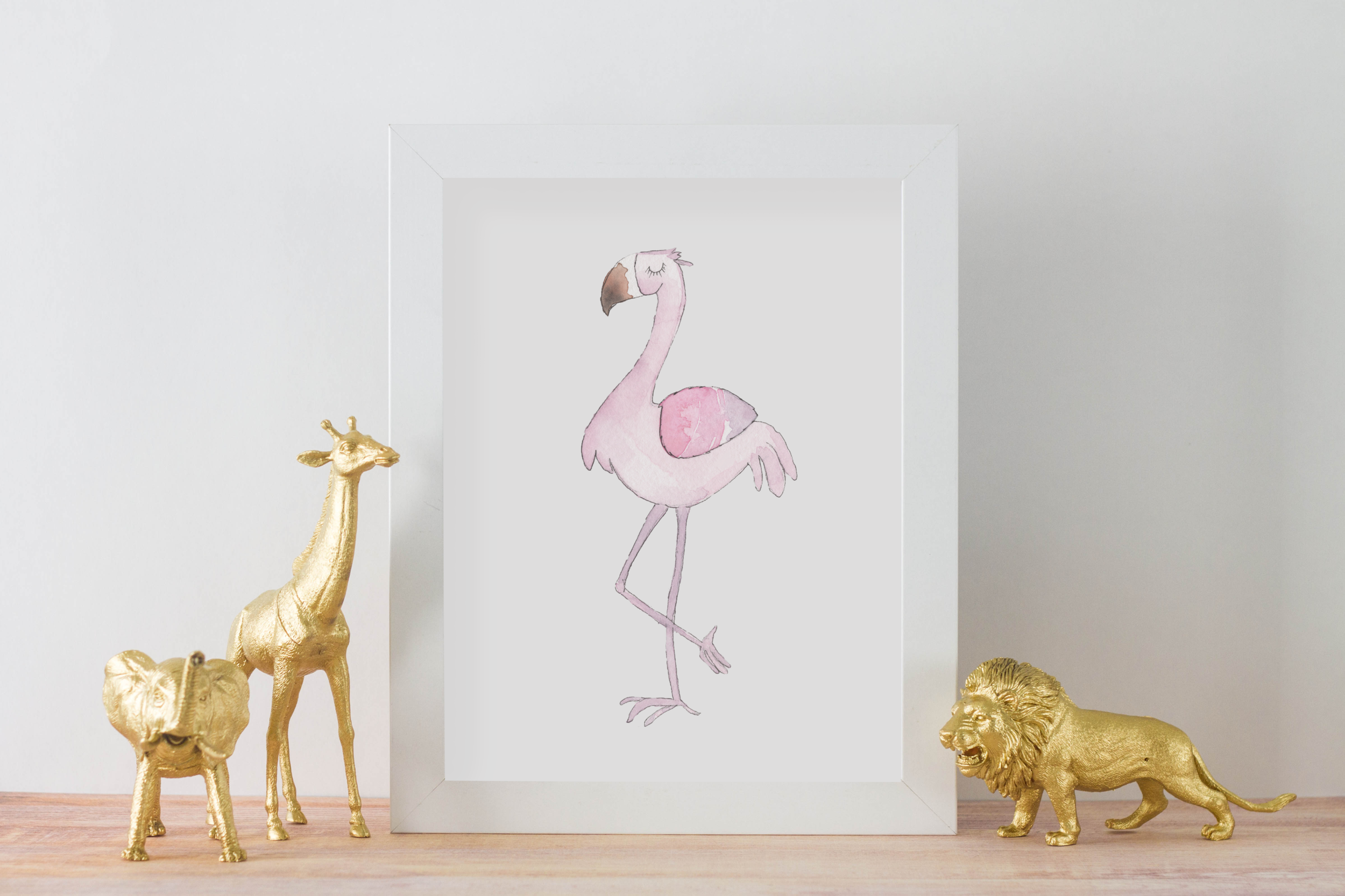 Personalized Cute Baby Flamingo for Baby Room   Christmas Gift for Baby Room