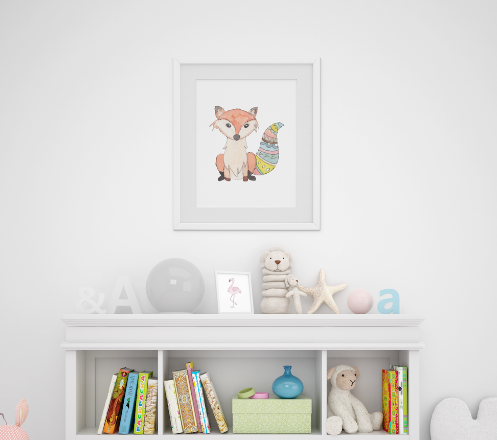 Personalized Cute Baby Fox for Baby Room   Christmas Gift for Baby Room
