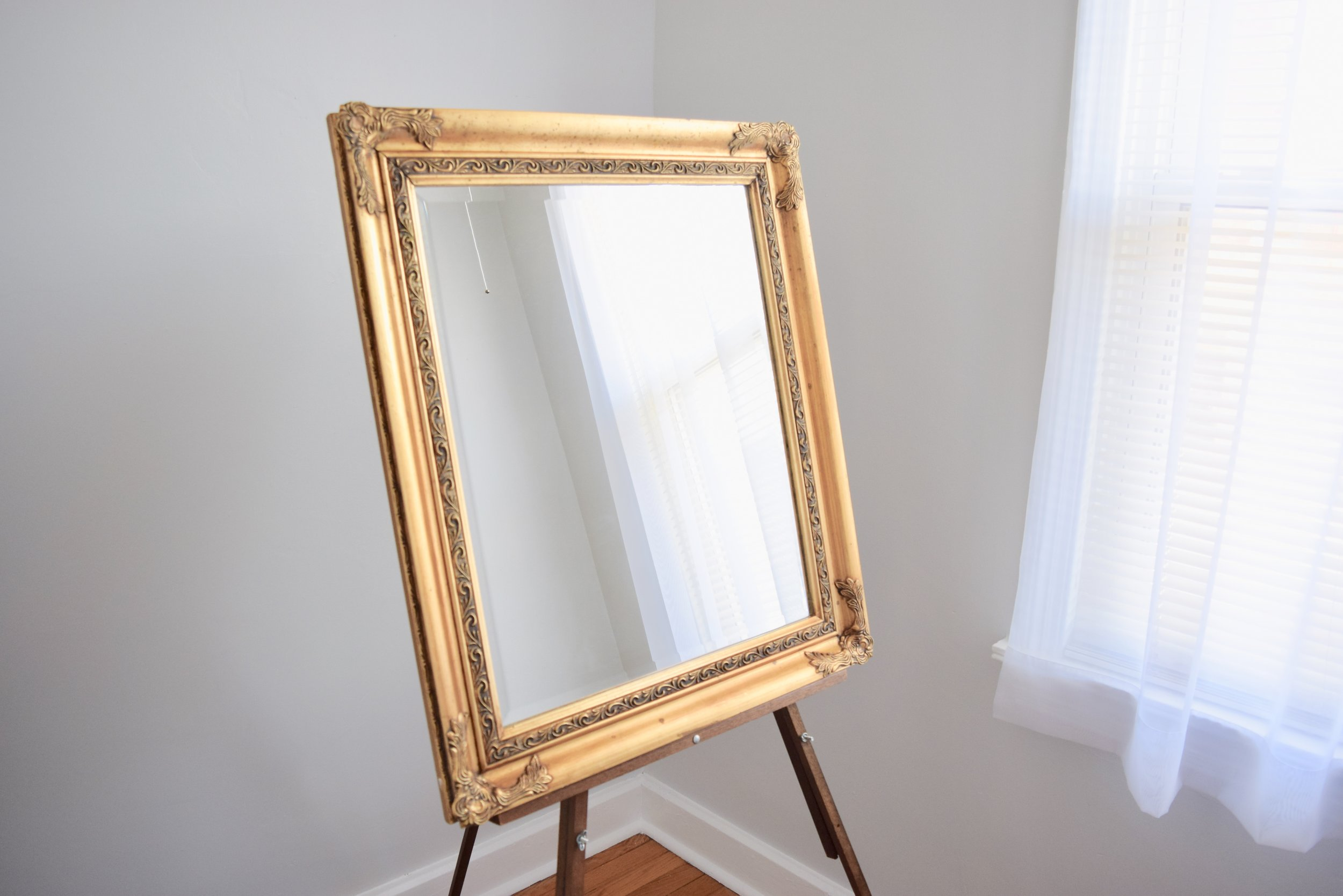 rectangular vintage mirror for wedding signage for rent.jpeg