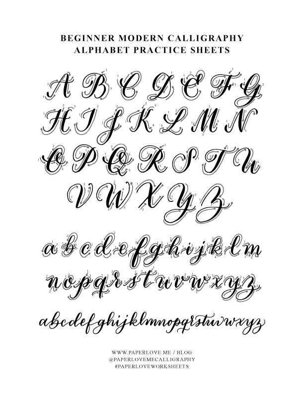 Paperloveme Calligraphy - Printable Calligraphy Worksheets - Style 1