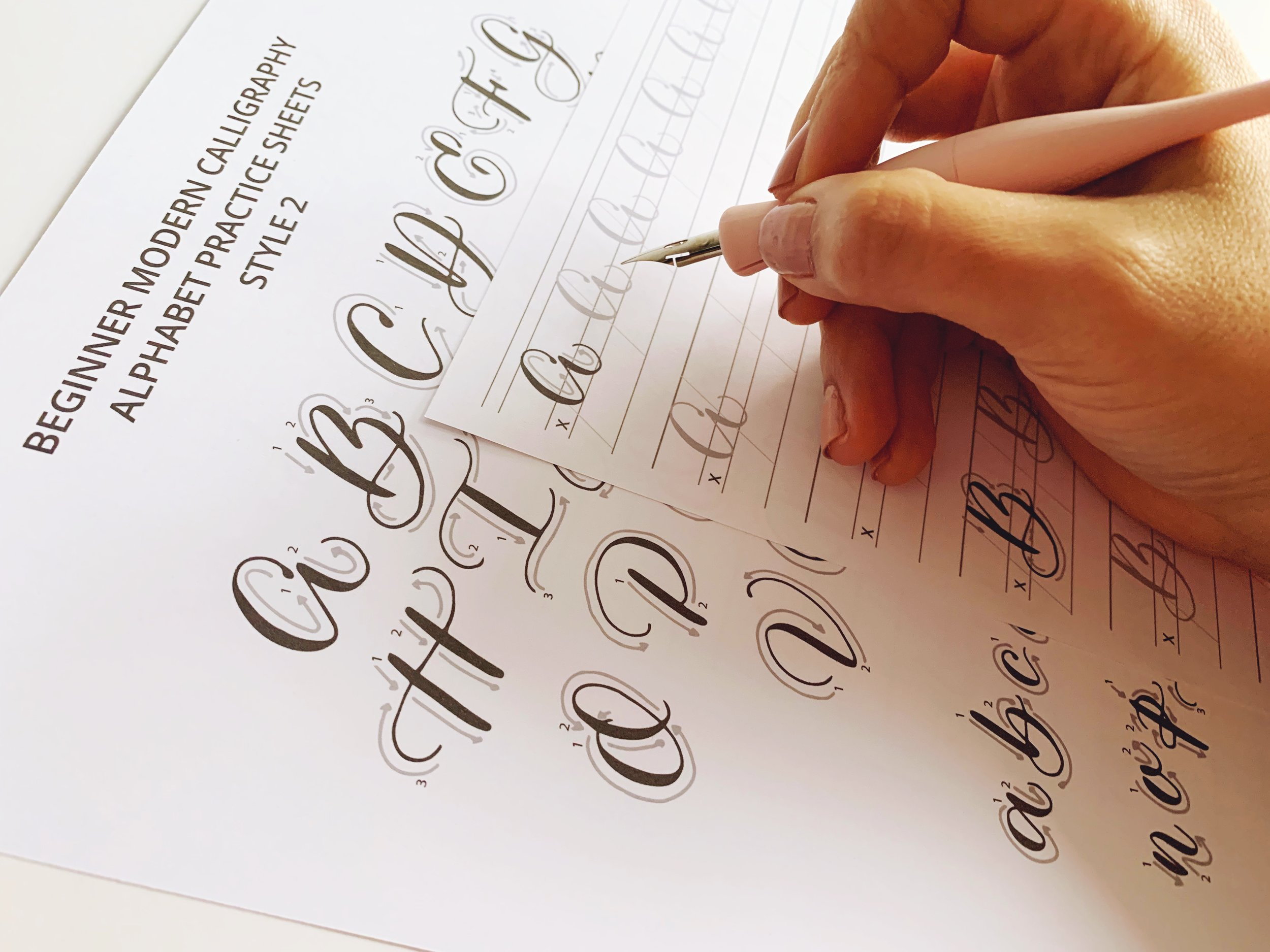 Paperloveme Calligraphy - Printable Calligraphy Worksheets - Style 2
