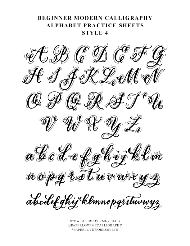 Paperloveme Calligraphy - Calligraphy Alphabet Practice Sheet With Swirls  Style 4