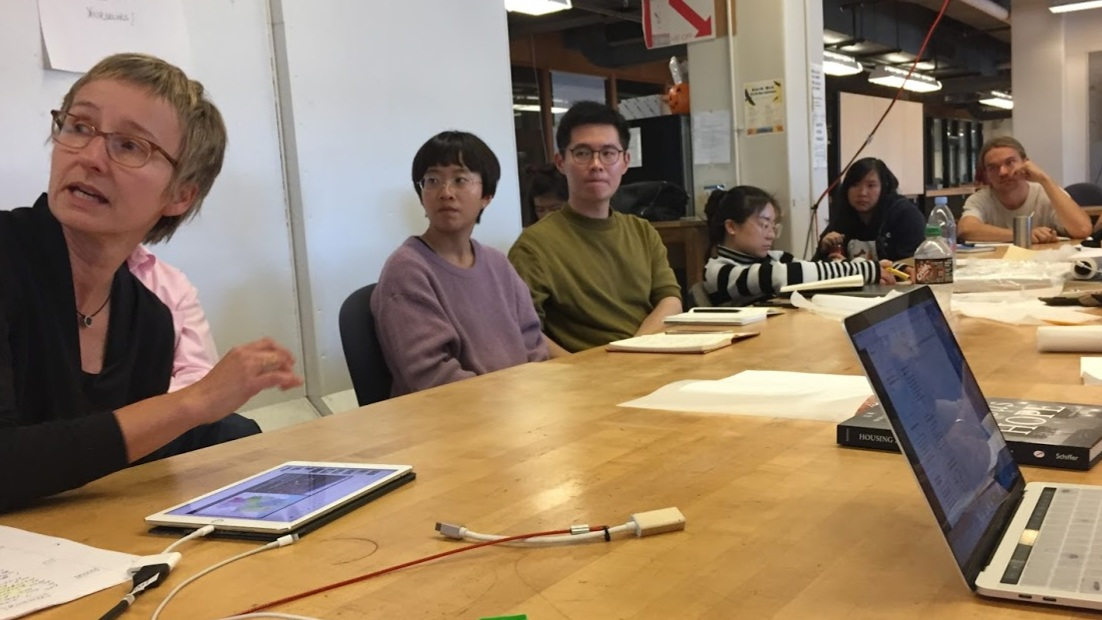 Heidi Sokolowsky guest lecturing at UC Berkeley's Master of Urban Design Studio ED 201 (2018). Students pictured, Shiyao Li, Desong Shi, Simba Gu, Amber Hou, and Robin Hueppe. Photo by Jane Lin.
