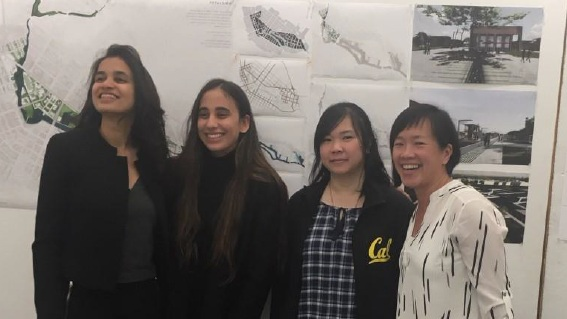 ED 201 Students Monica Prakash, Hana Zaky, and Amber Hou with Jane Lin (Lecturer), after their presentation of Resilient Urban Design ideas for the City of Petaluma (2018).