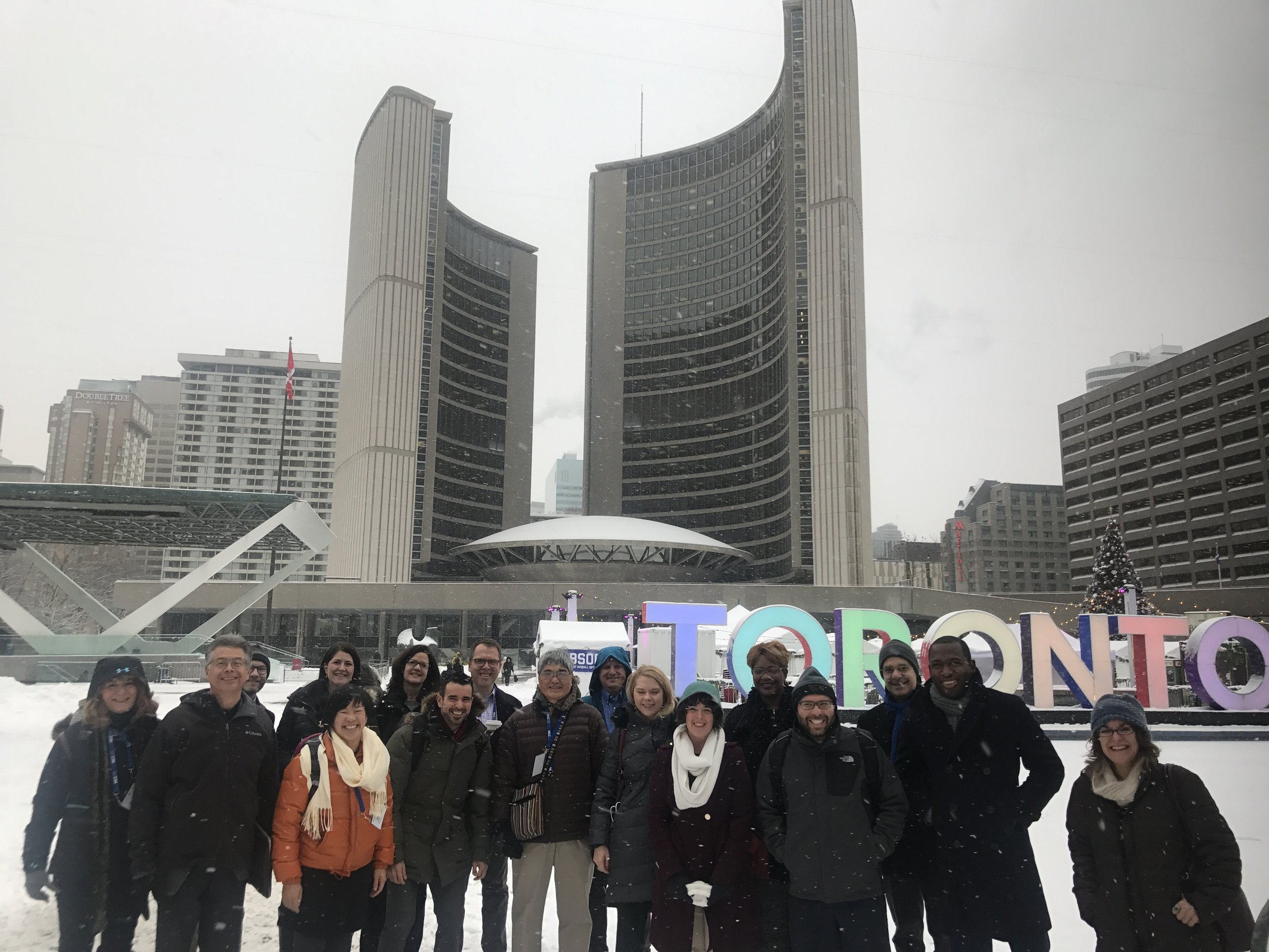 Experiencing many climates and places with the The Rose Center. The Class of 2018 included the Cities of Tucson, AZ, Salt Lake City UT, Columbus OH, and Richmond VA. We also visited Los Angeles, CA, and Detroit MI for the Fall and Spring ULI Meetings. Here fellows and advisors (freezing) on a Tour of Toronto, Ontario.