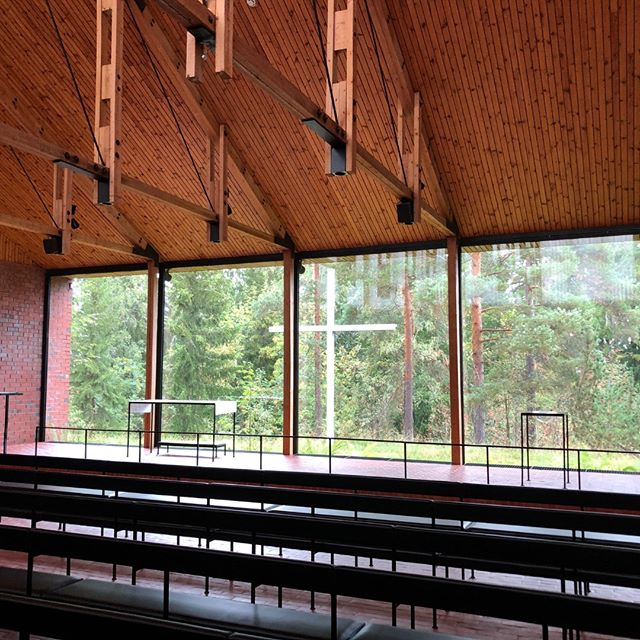 """That's a nice backdrop to the alter! This is Otaniemi Chapel at Aalto University in Espoo, Finland. The chapel was designed by architects Heikki and Kaija Siren for a 1954 architectural competition. The students at the University wanted something to remind them of """"the wholeness of life and the values of human life"""" while studying."""